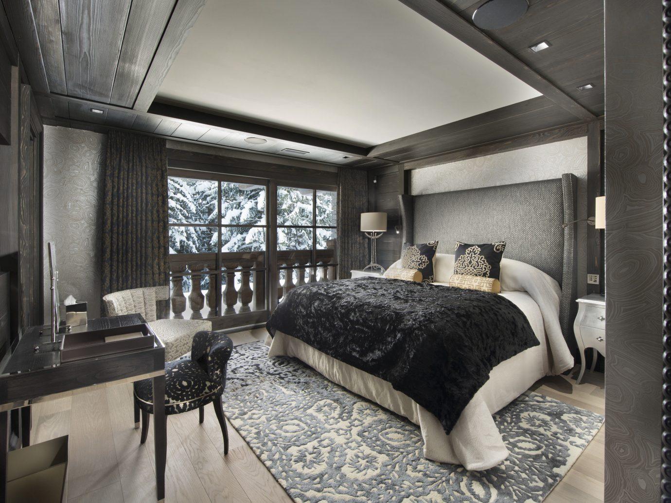 Hotels Luxury Travel Mountains + Skiing indoor room property window bed living room home interior design estate Design loft cottage Bedroom furniture