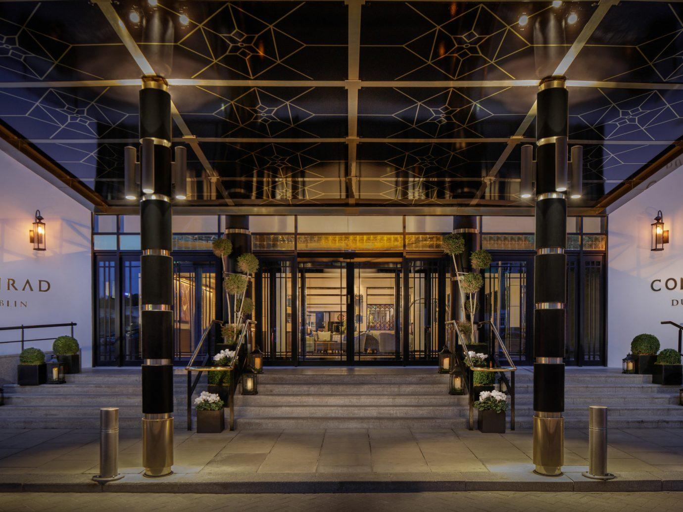Dublin Hotels Ireland Lobby lighting night building facade evening interior design