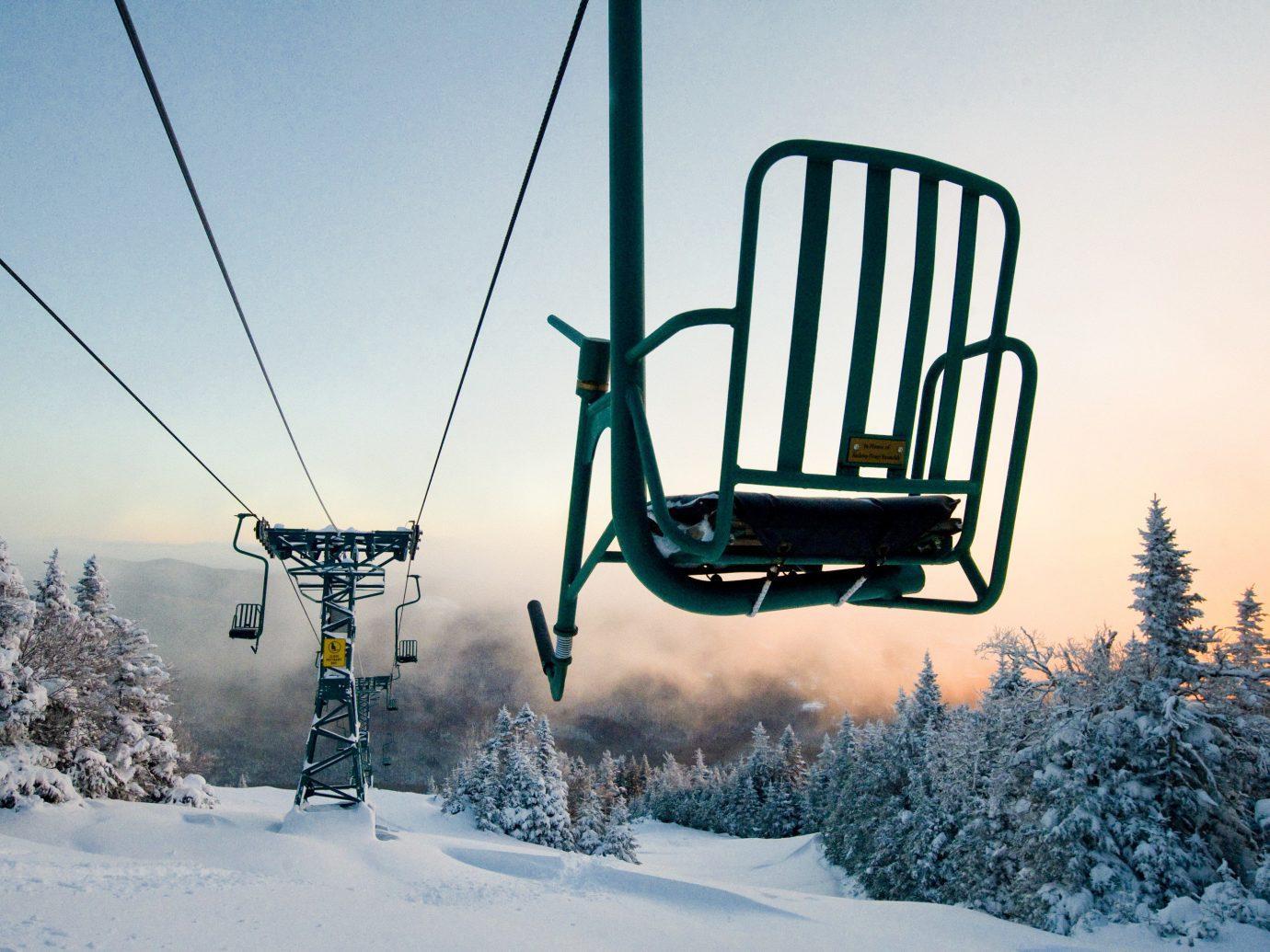 alpine skiing East Coast USA Trip Ideas ski tow sky outdoor transport snow Winter freezing tree morning frost winter sport ski equipment sunlight ice day