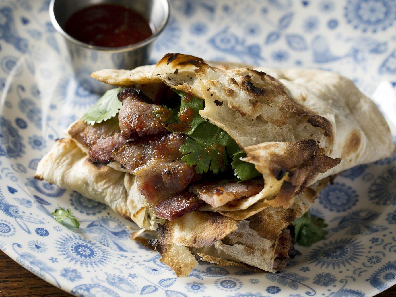 food plate dish cuisine produce meal breakfast vegetable meat flatbread quesadilla