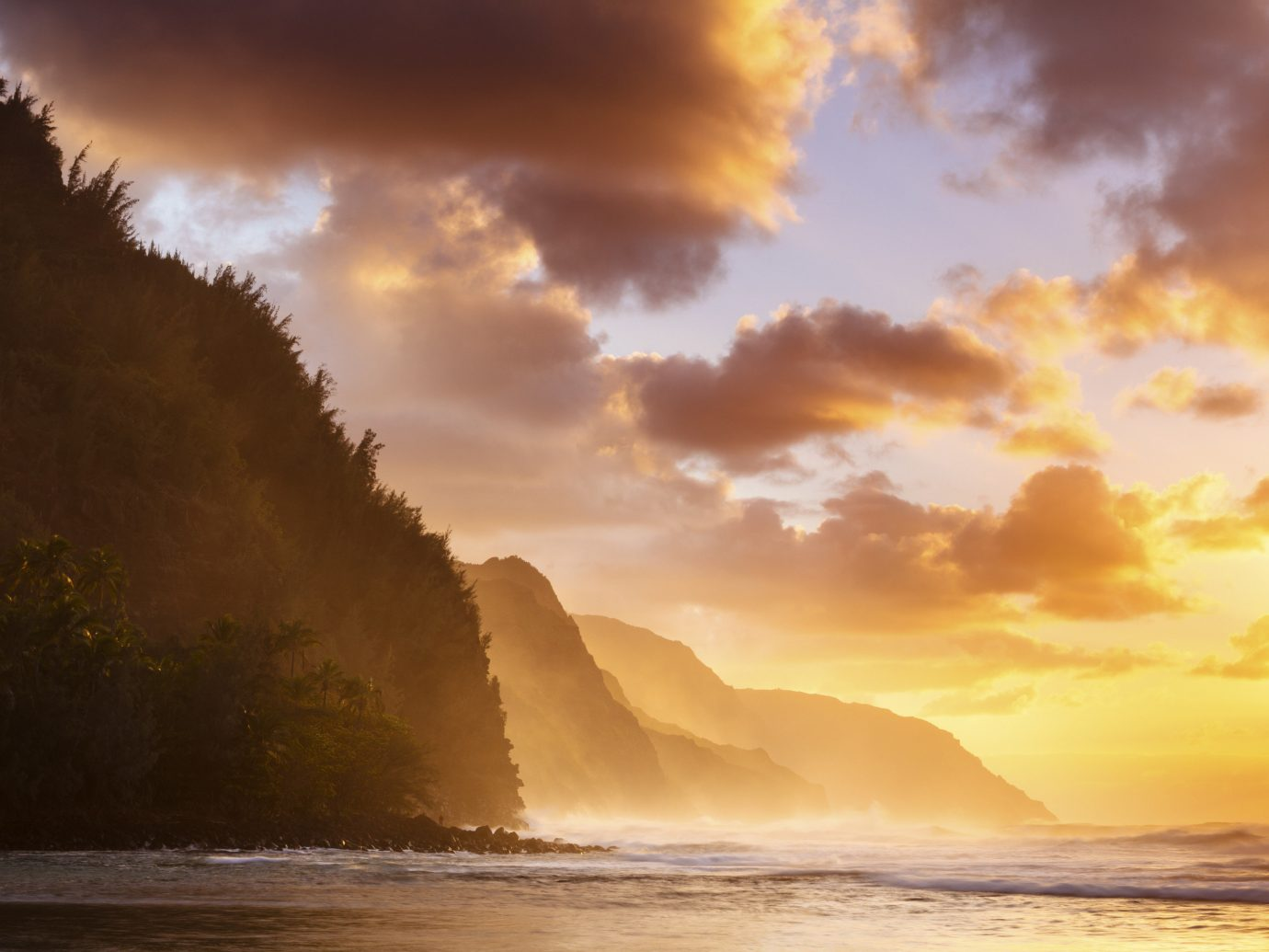Na Pali Coast, Kauai, Hawaii Sunset