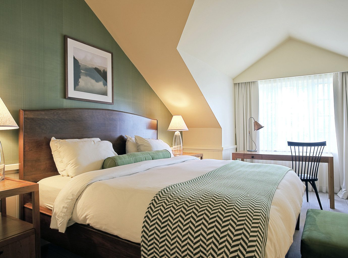 Bedroom Country Food + Drink Inn Living Outdoors + Adventure Resort Trip Ideas Weekend Getaways bed indoor wall sofa hotel room floor property Suite estate cottage interior design home real estate pillow Villa apartment decorated furniture lamp