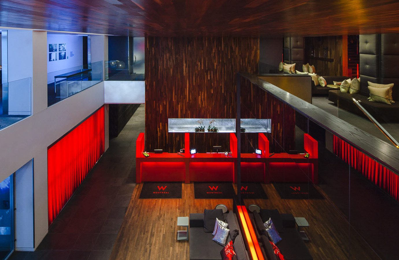 Canada Hotels Montreal Trip Ideas floor indoor Architecture interior design red ceiling restaurant Lobby recreation room table wood