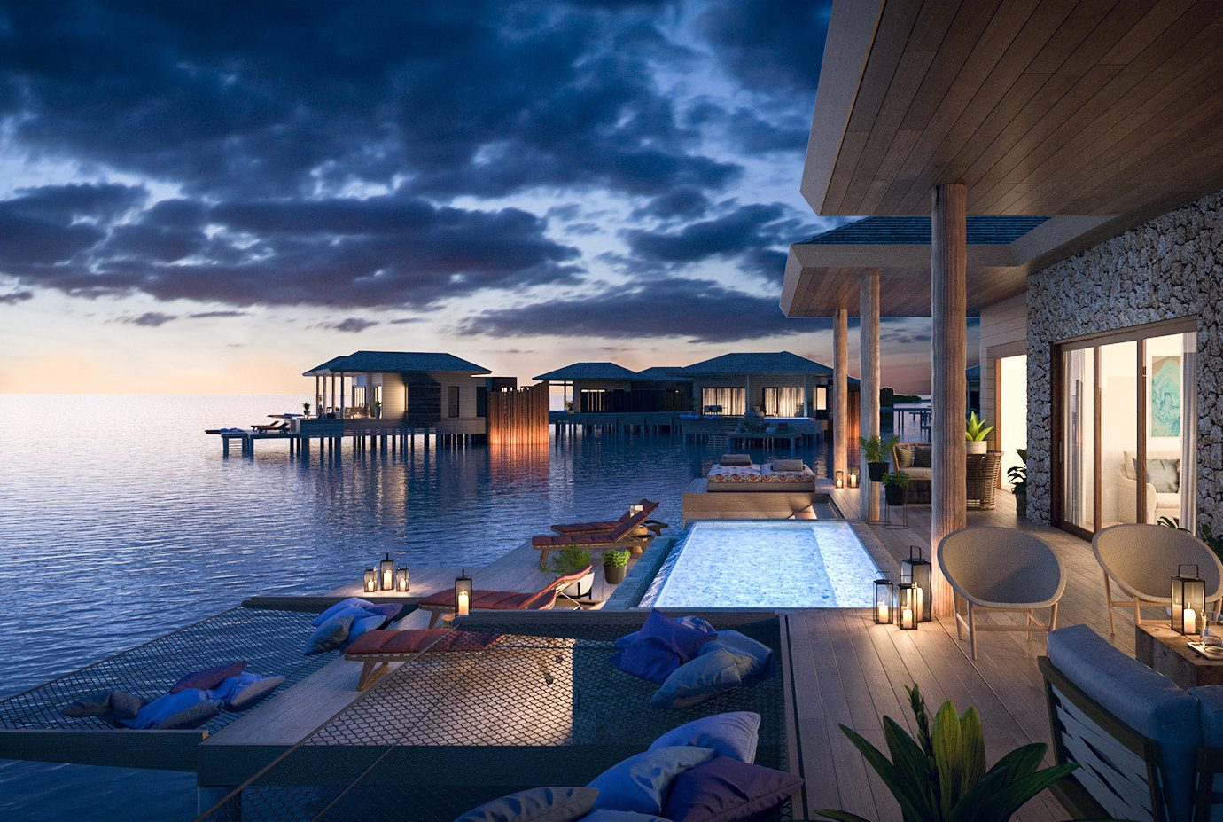 Hotels water sky outdoor scene vacation estate house Resort swimming pool Sea overlooking day several