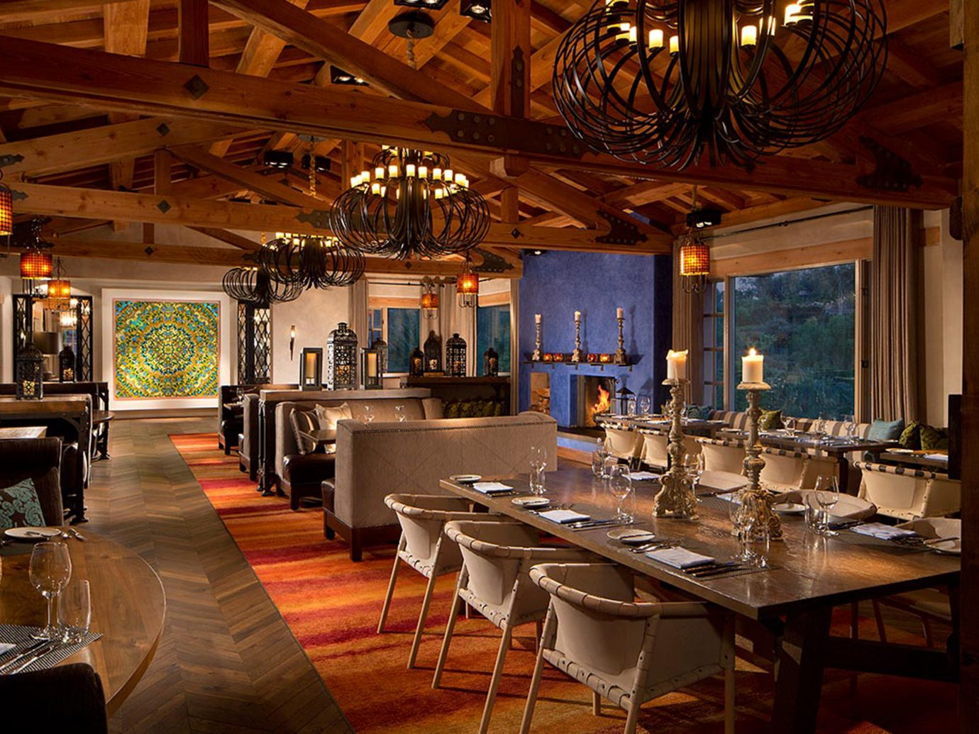 Bar Dining Drink Eat Elegant Trip Ideas table indoor floor ceiling room restaurant estate Resort tavern interior design meal café Island several dining room dining table