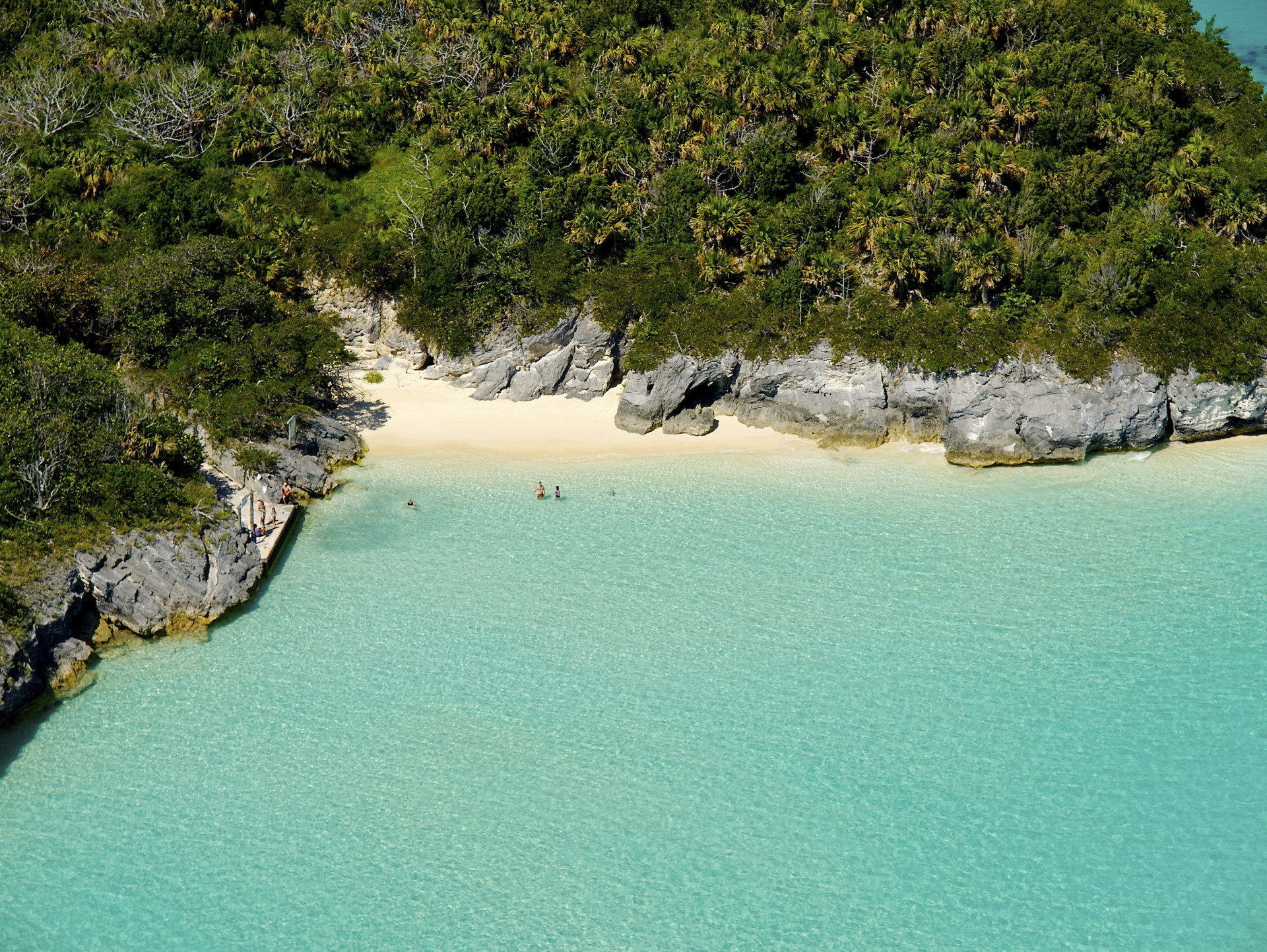 aerial Beach calm clear water Greenery Islands Ocean people remote Rocks sand serene Trip Ideas Tropical turquoise white sands tree outdoor water body of water Sea shore Coast vacation River bay reservoir Lake cove terrain plant