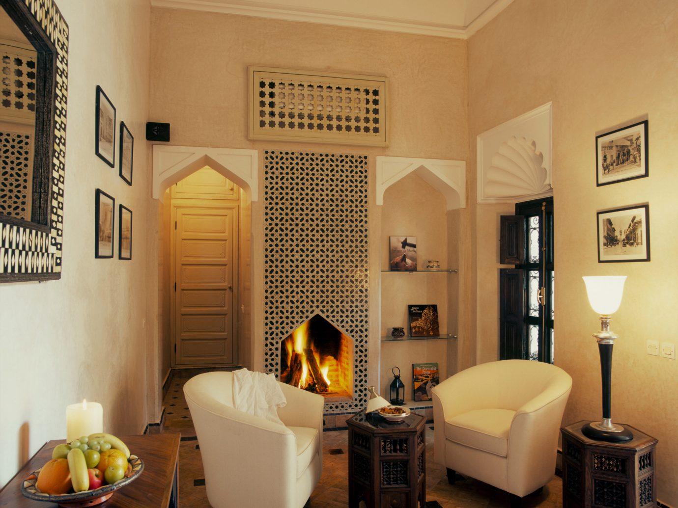 Living room at Dar Les Cigognes, Marrakech, Morocco