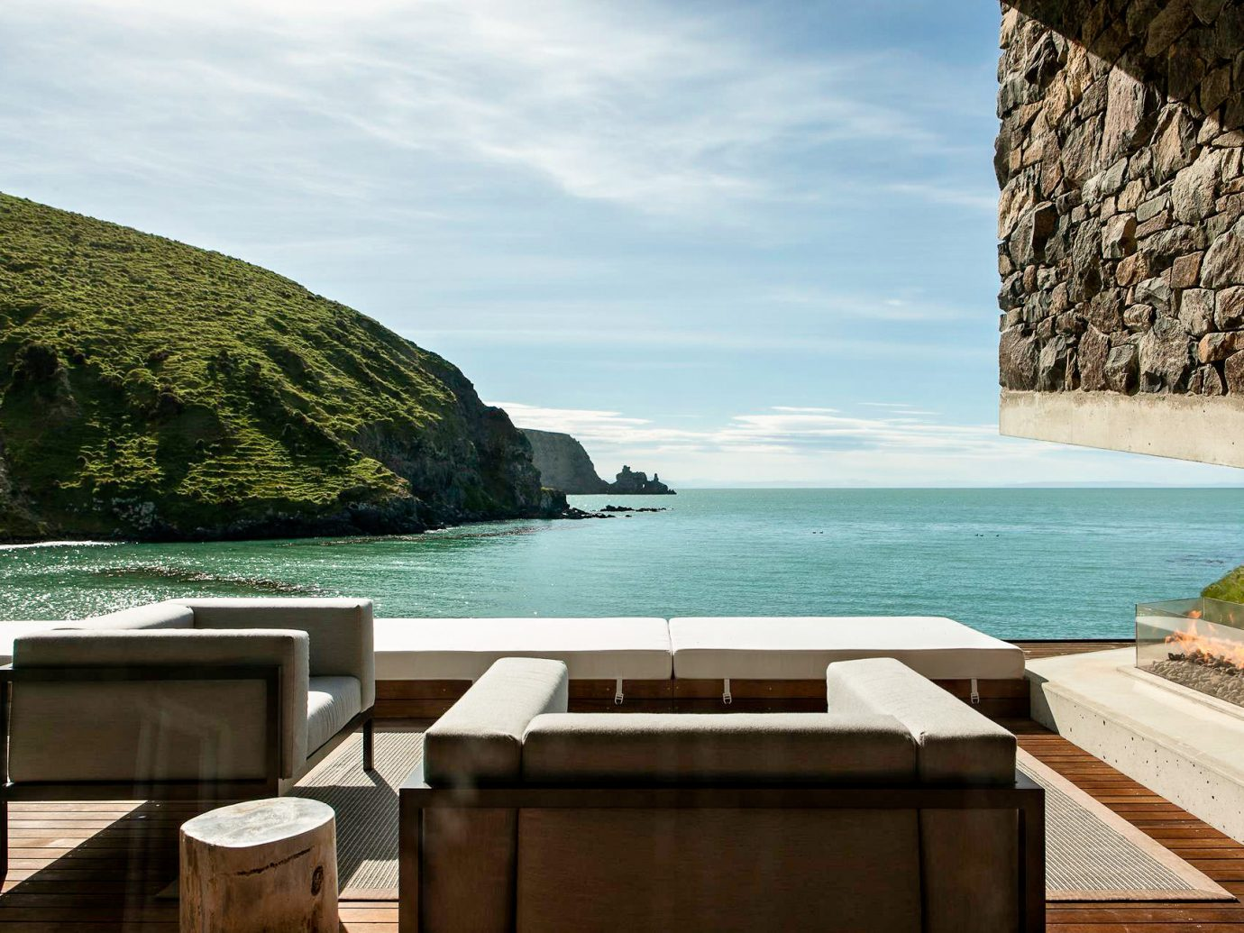Beach front seating at Annandale, New Zealand