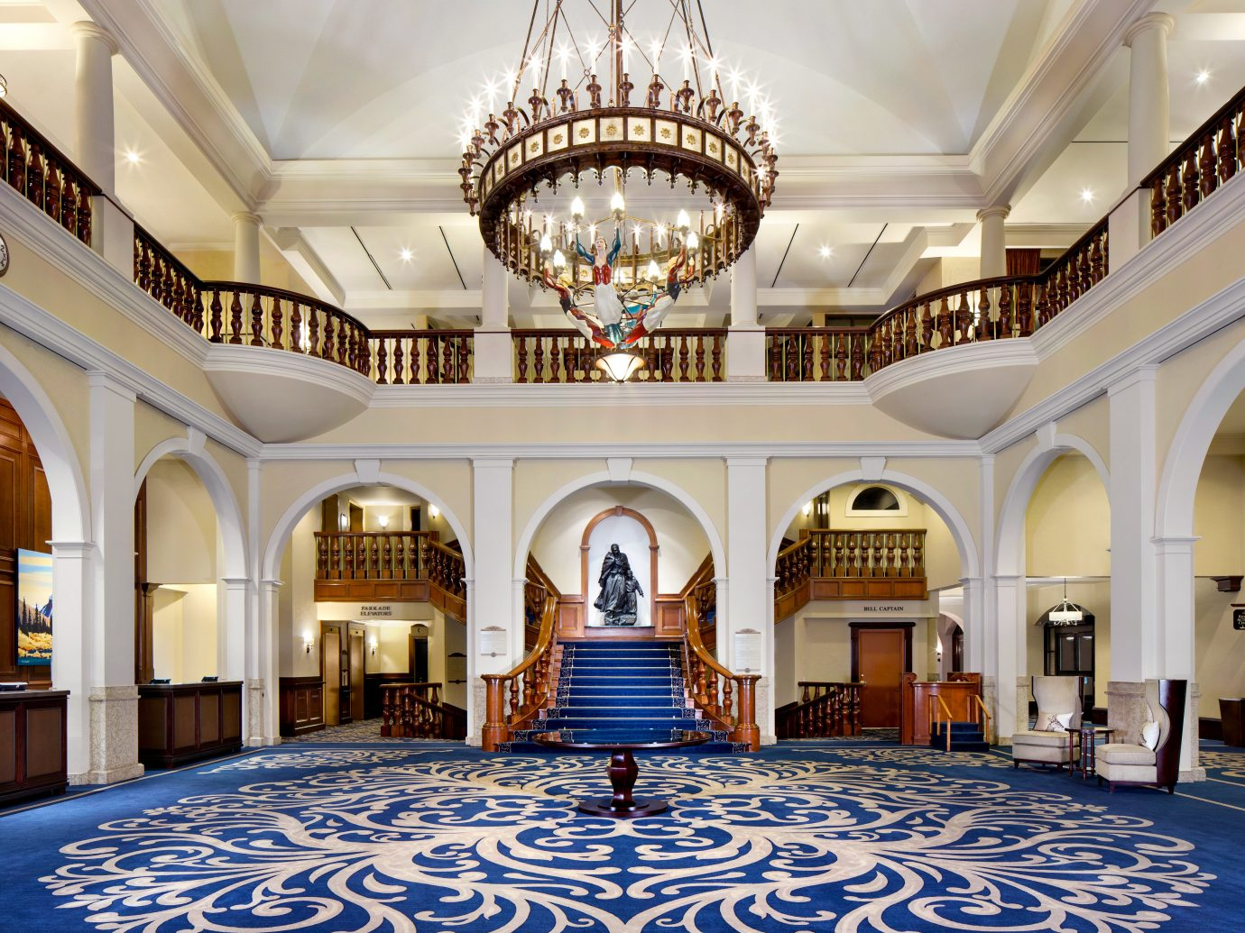 Alberta Boutique Hotels Canada Hotels Lobby Resort Road Trips indoor ceiling blue estate palace mansion room building Architecture function hall ballroom interior design arch hall furniture