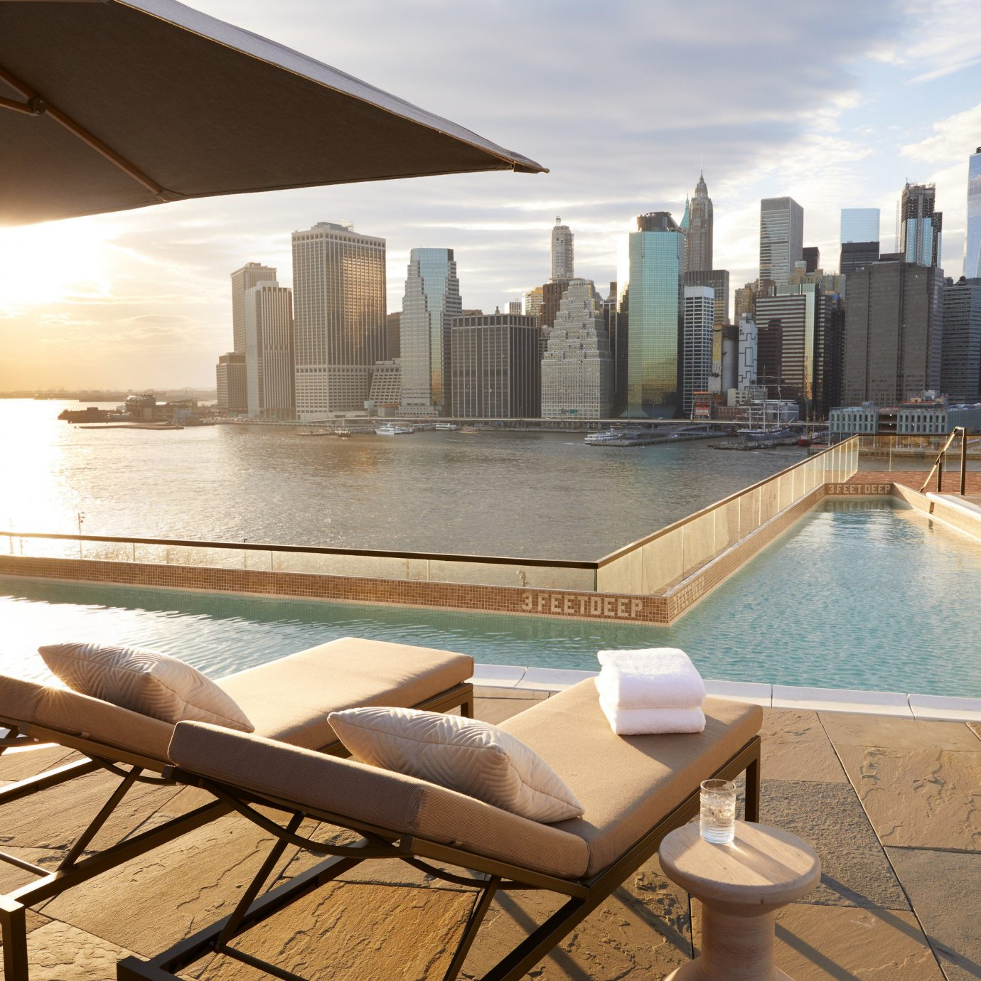 Manhattan Skyline View at 1 Rooftop, 1 Hotel Brooklyn Bridge