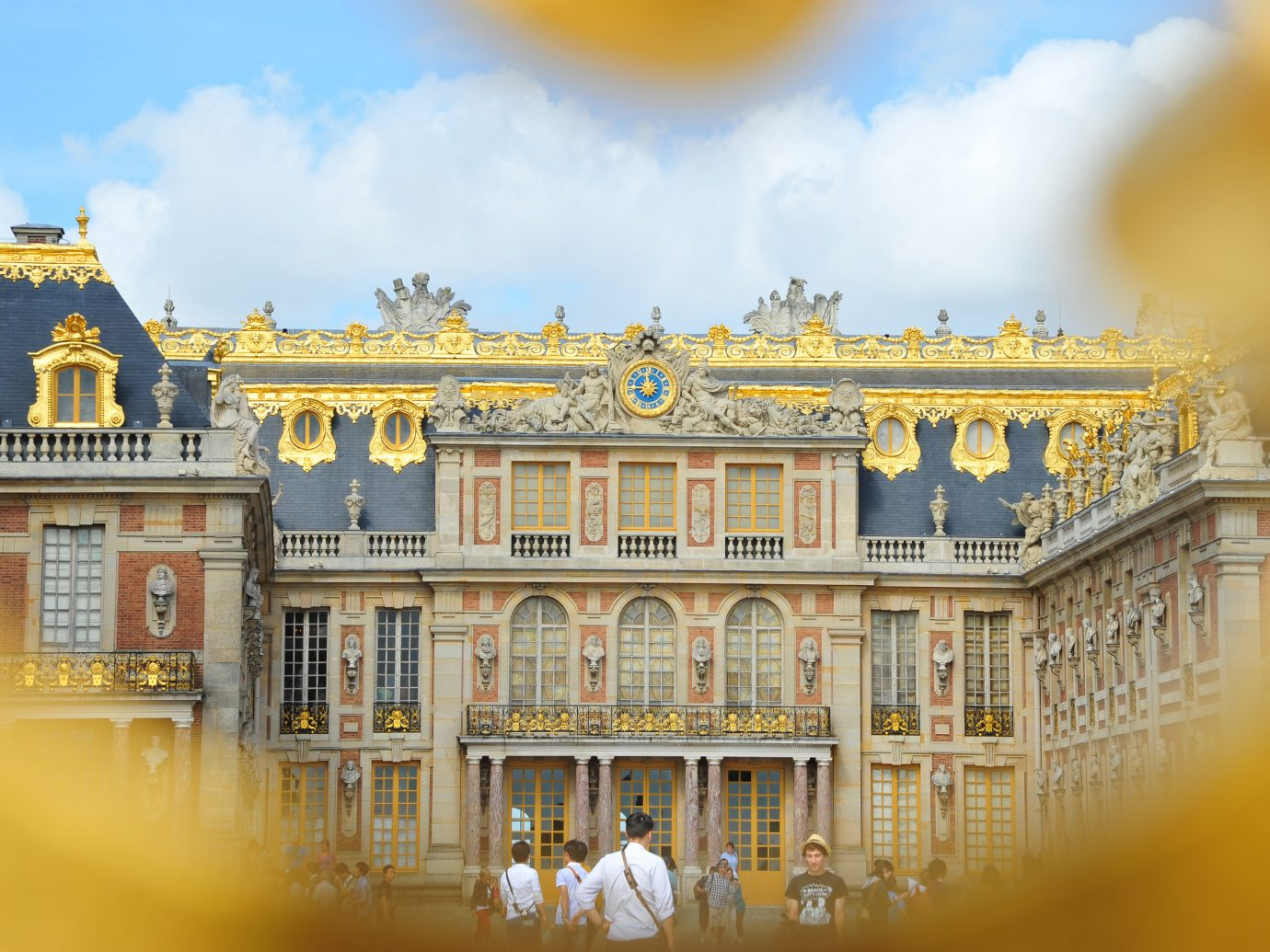 Romance Trip Ideas yellow landmark palace building house Architecture reflection tourism estate cityscape facade château bright