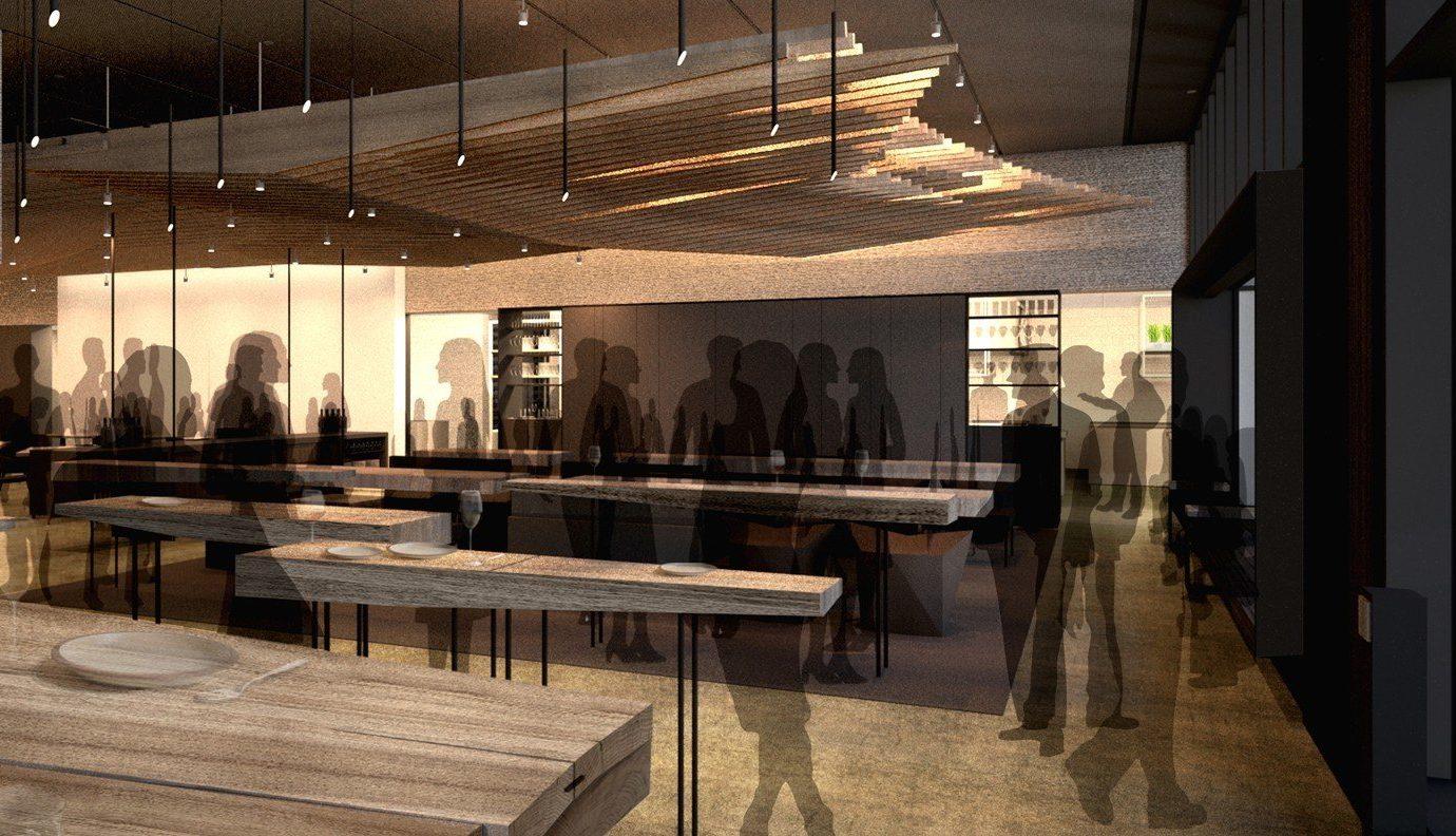 Food + Drink indoor floor property Lobby room restaurant interior design estate lighting wood several