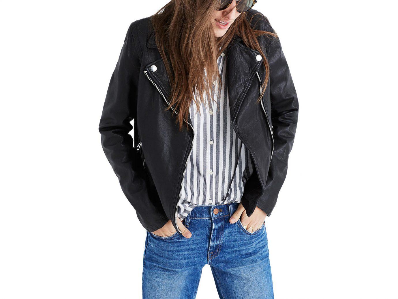 Travel Shop person jacket leather jacket wearing standing leather jeans sleeve hood zipper denim posing hoodie