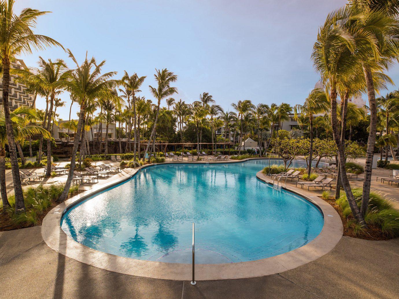 Aruba caribbean Hotels tree outdoor sky palm Pool swimming pool property leisure Resort estate vacation Villa real estate backyard Lagoon arecales lined