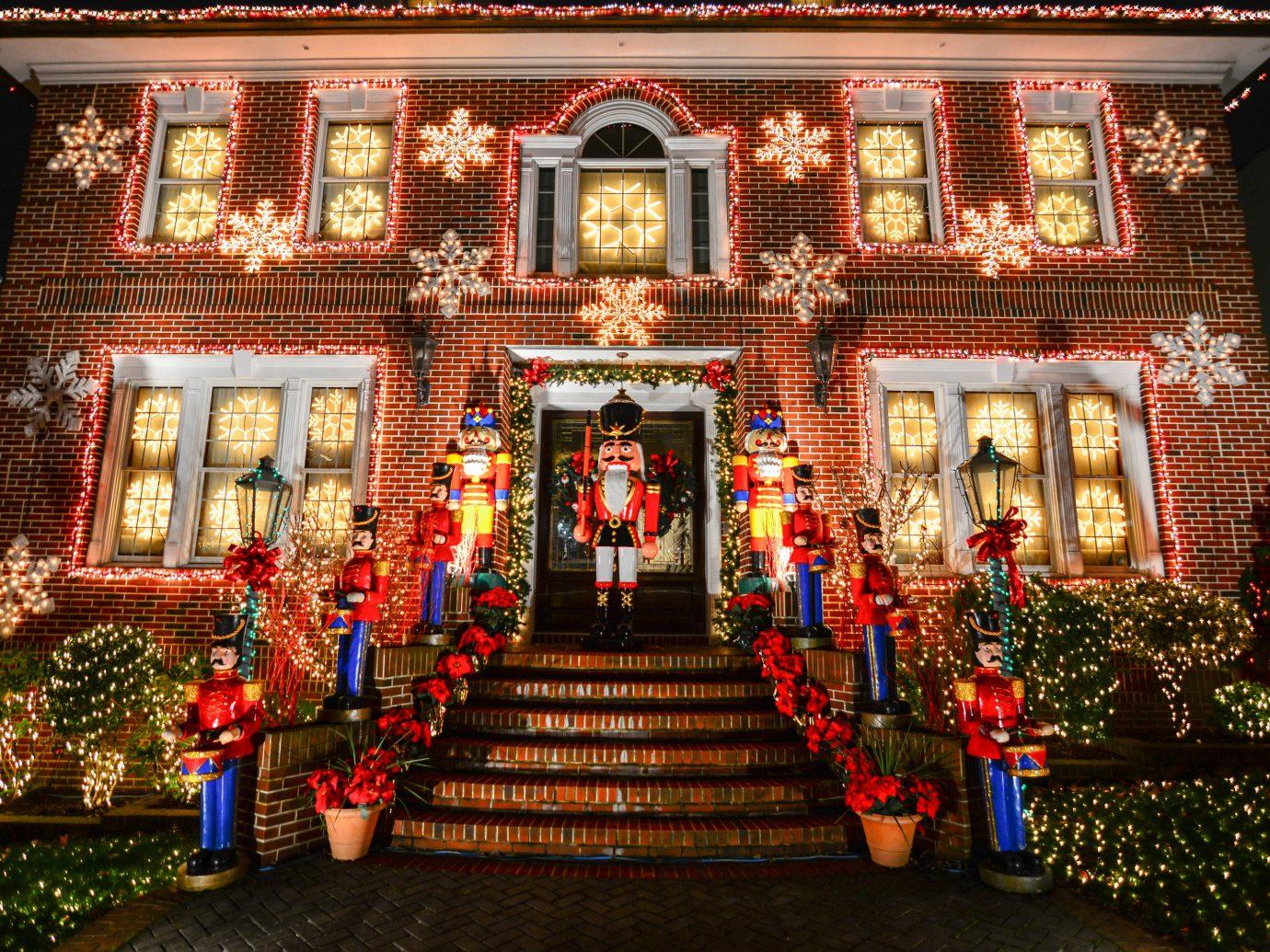Offbeat building Christmas christmas decoration christmas lights holiday shrine temple decorated altar