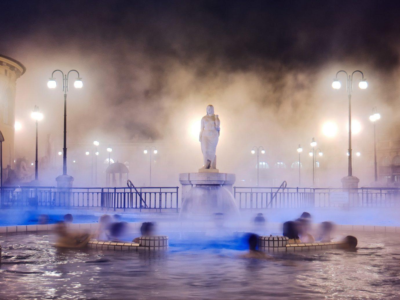 Style + Design fountain atmospheric phenomenon landmark reflection night water feature morning evening cityscape several