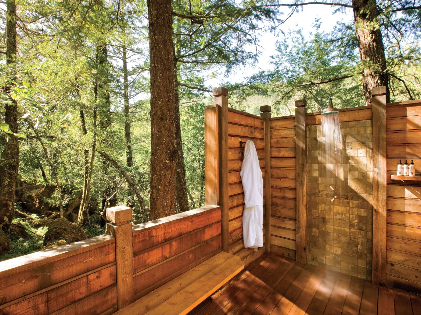 Bath Eco Health + Wellness Hotels Luxury Outdoors Ranch Romance Romantic Rustic Spa Retreats Wellness tree property wood estate backyard home wooden log cabin outdoor structure cottage real estate wooded
