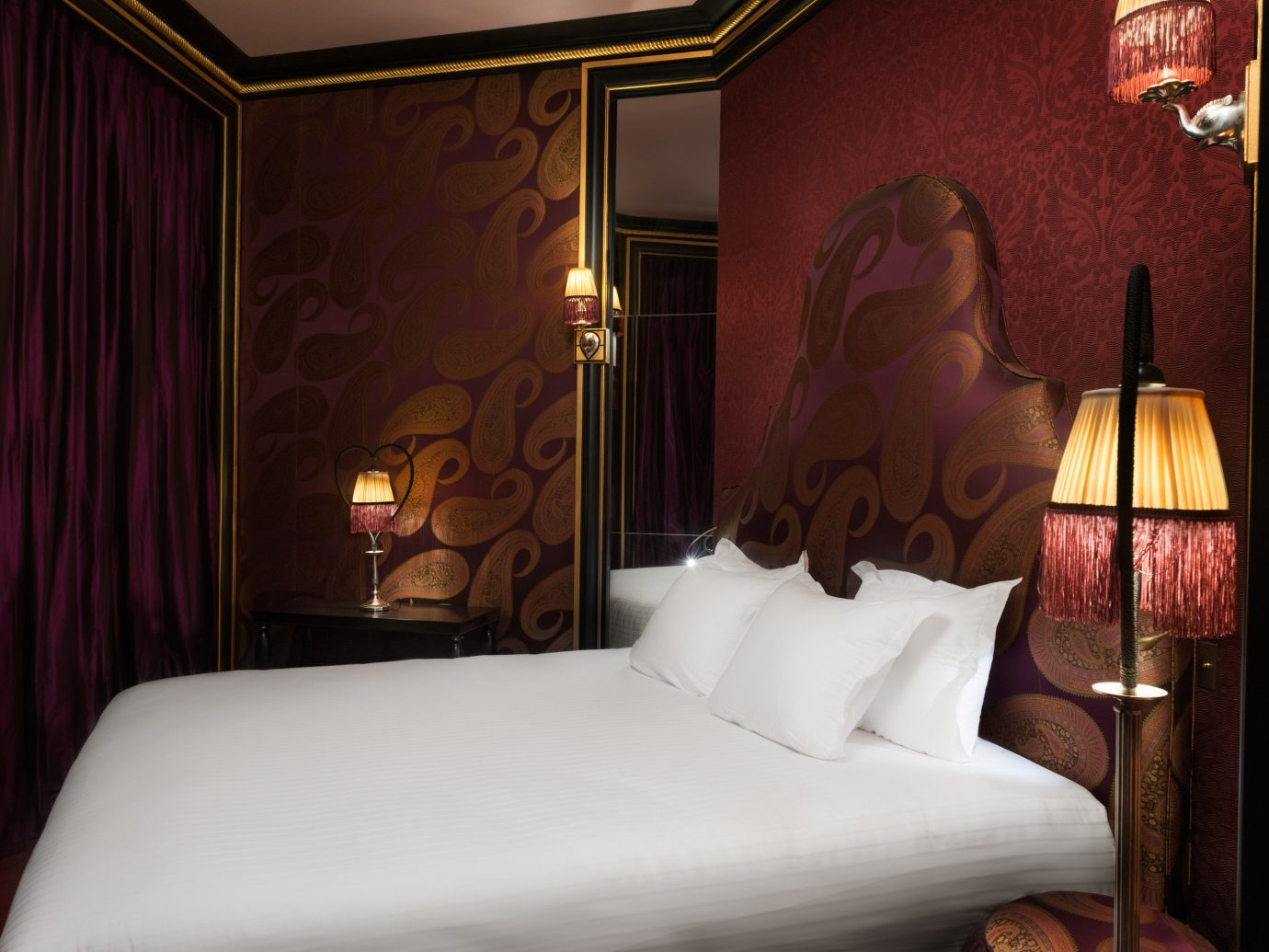 France Hotels Paris indoor bed sofa wall room hotel curtain Suite white interior design lighting Bedroom pillow cottage decorated night