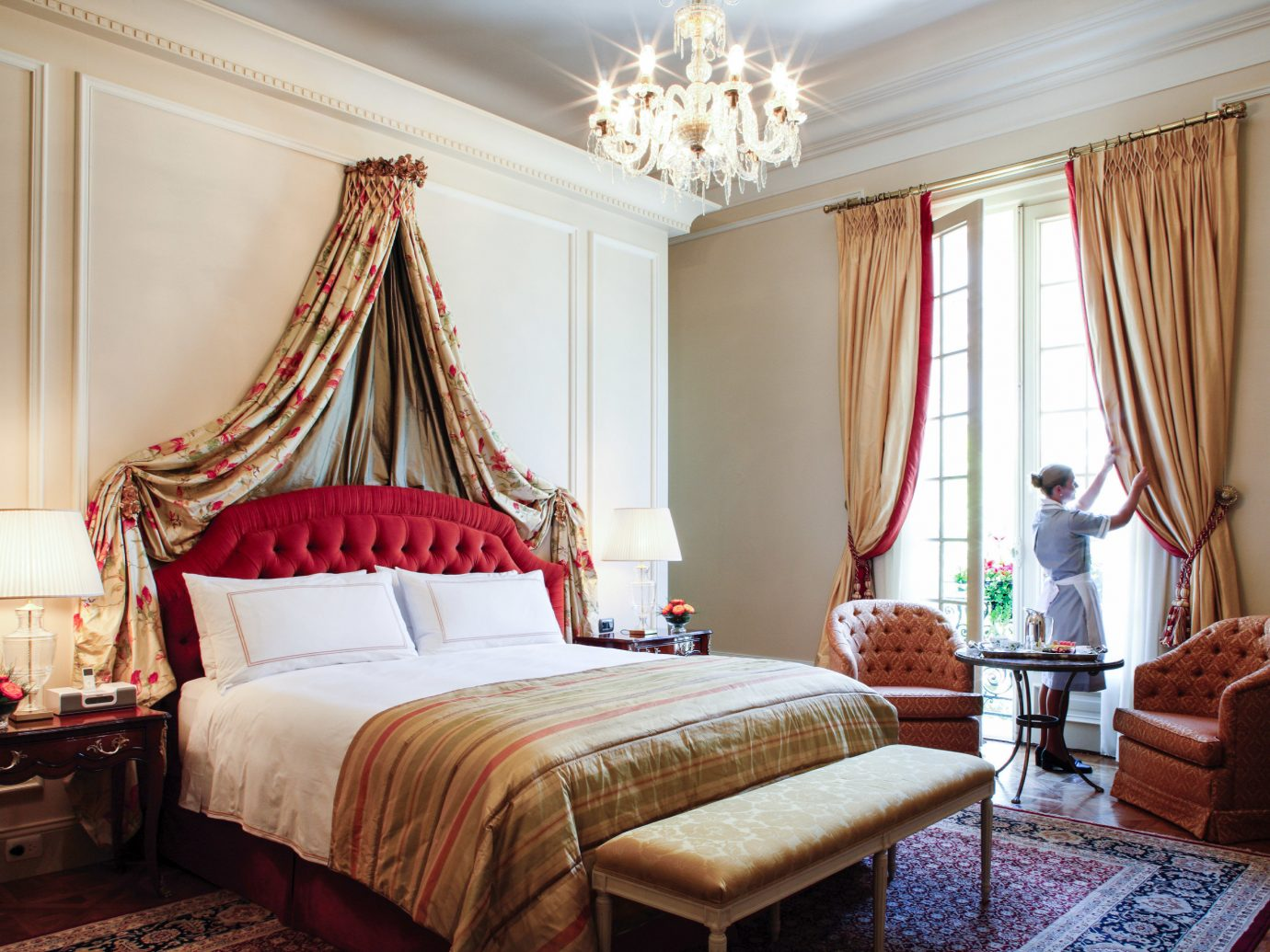 Boutique Hotels Luxury Travel indoor wall room floor bed Bedroom interior design home Suite window treatment textile ceiling curtain bed frame window covering real estate estate window furniture hotel bed sheet decor house bedding decorated