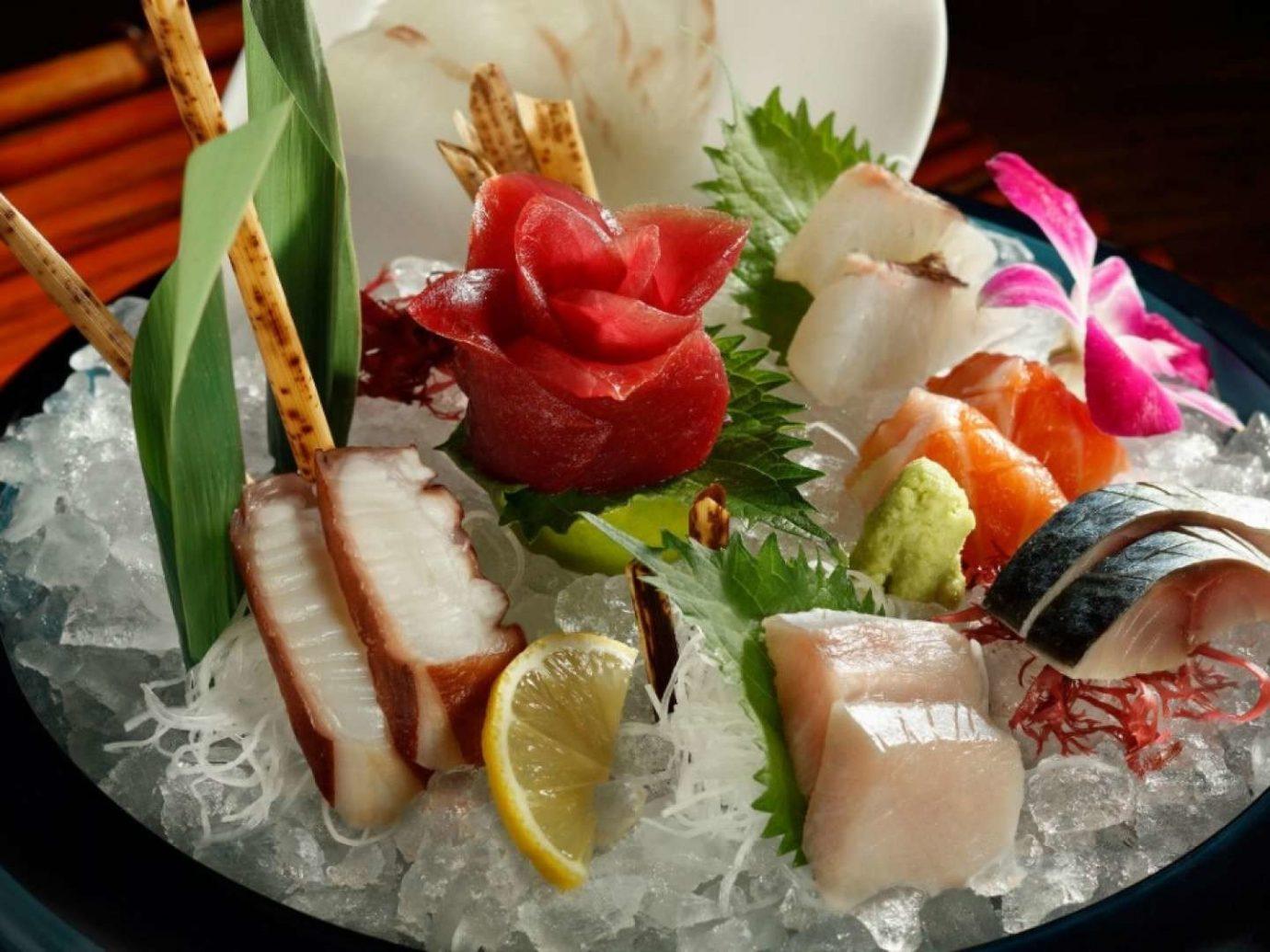 Food + Drink food dish cuisine plate meal asian food fruit hors d oeuvre sashimi fish sushi buffet hot pot fresh