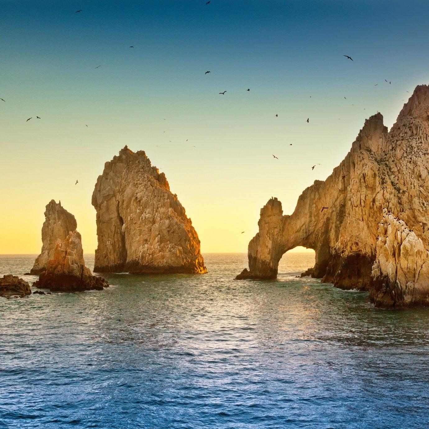 Rock formations in the ocean in Los Cabos Mexico