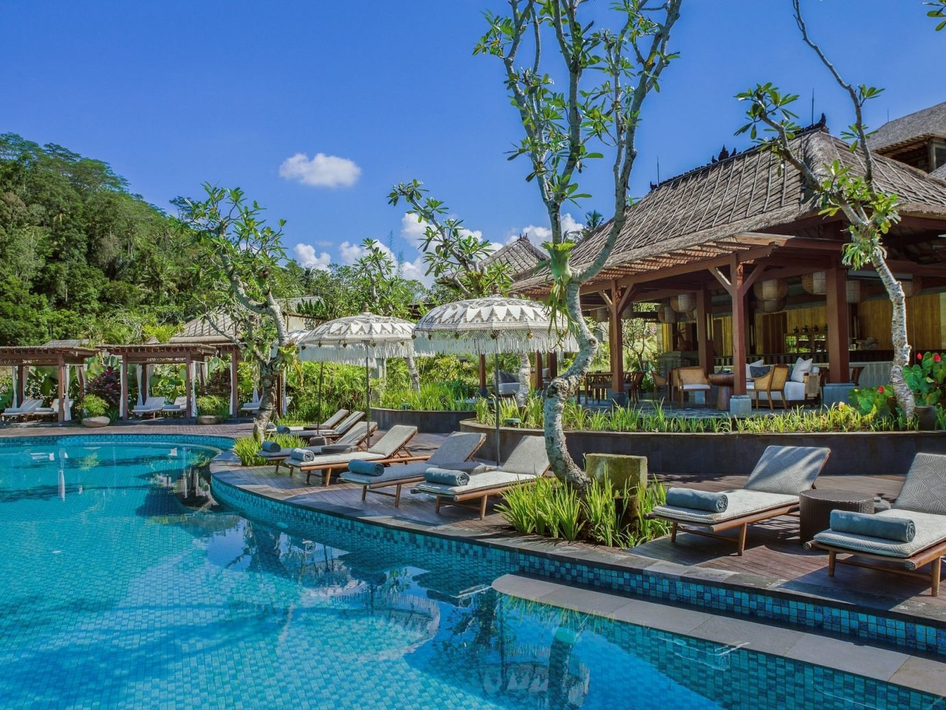 Health + Wellness Hotels tree outdoor sky swimming pool Resort property leisure estate Villa resort town real estate Pool eco hotel blue swimming