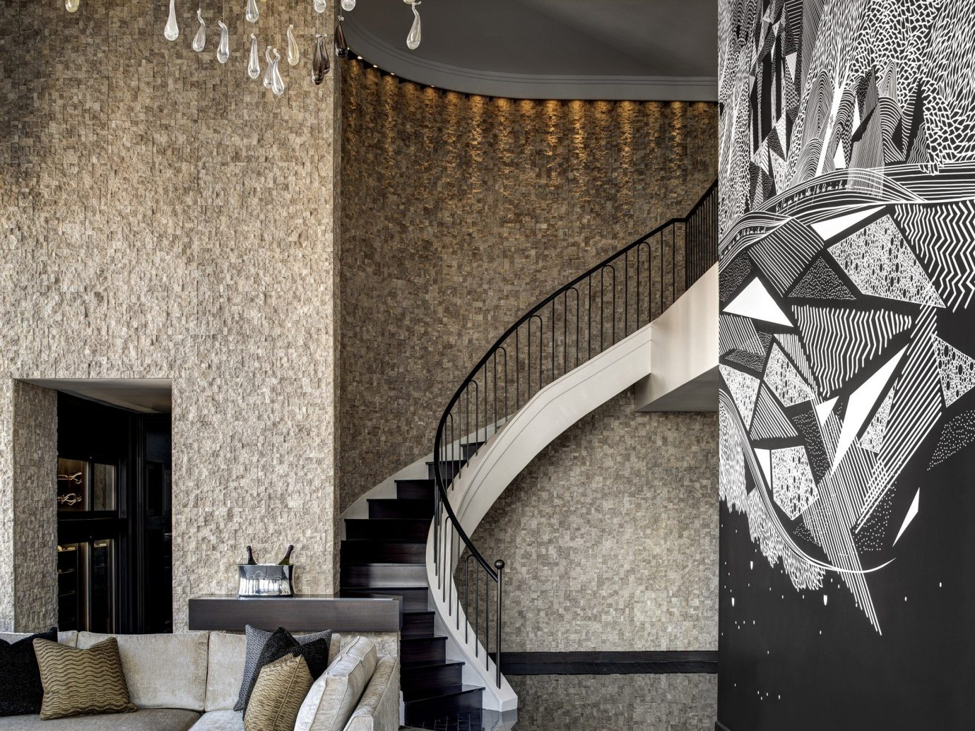 Hotels Luxury Travel Travel Tips indoor wall interior design Architecture ceiling living room Lobby floor angle interior designer flooring wallpaper furniture stone