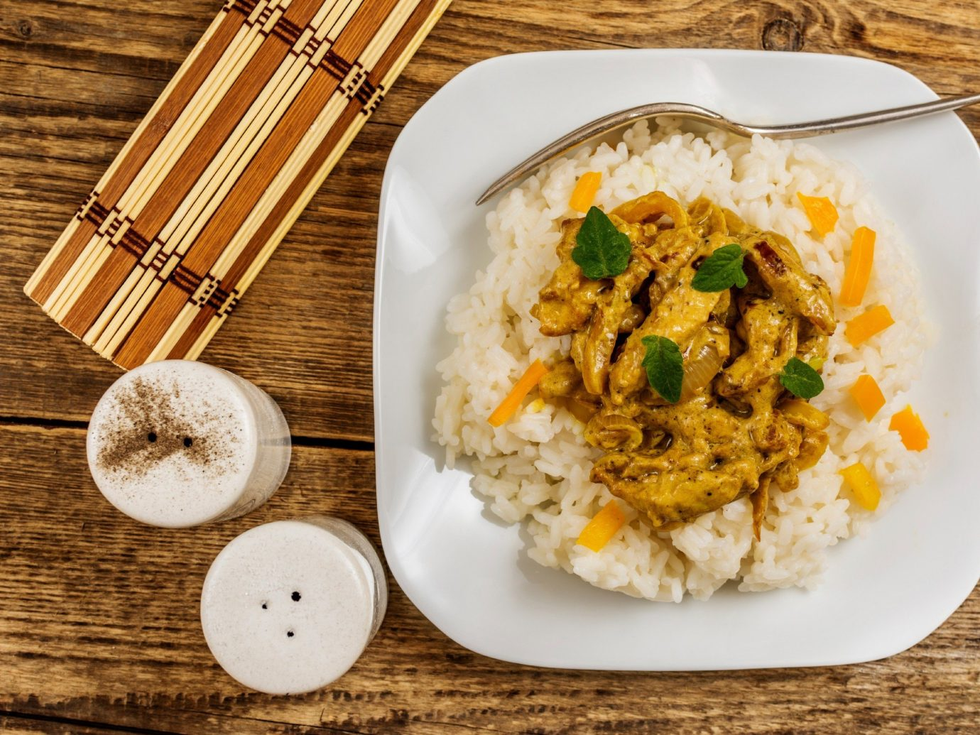 Food + Drink plate food table dish curry cuisine meal coconut produce asian food breakfast white rice steamed rice thai food vegetable chinese food fried rice
