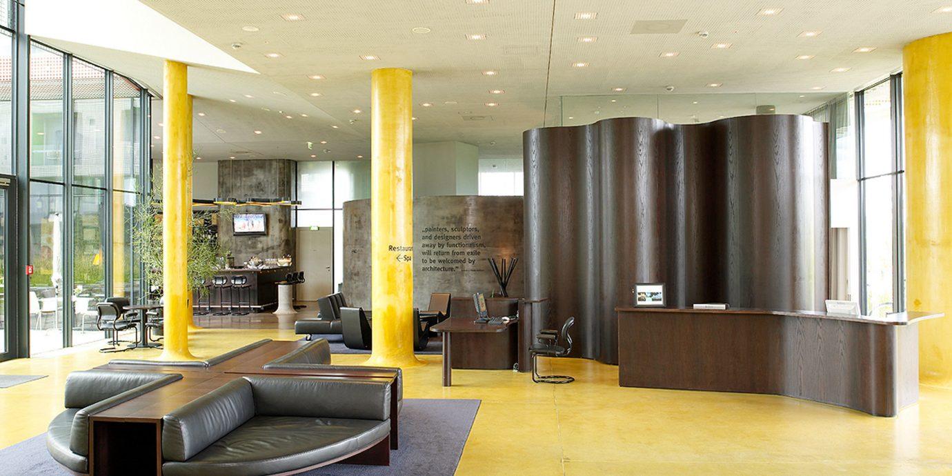 Bar Lobby Lounge Modern Vineyard property building yellow Architecture condominium living room home flooring headquarters waiting room office