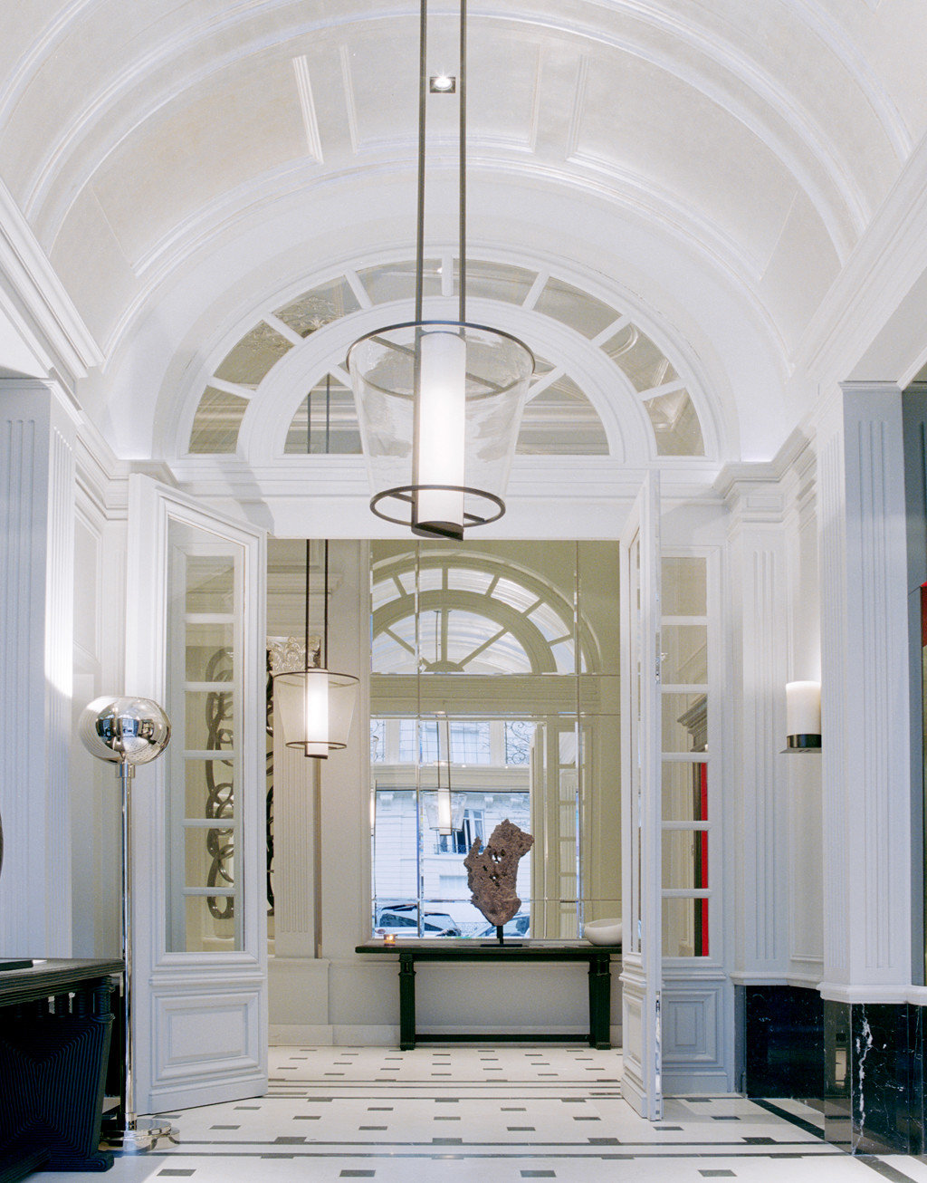 Boutique City Elegant France Hotels Lobby Luxury Paris Architecture daylighting home lighting white hall living room arch glass column