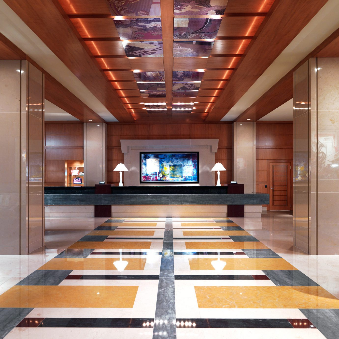 Business City Cultural Family Hip Landmarks Lounge Luxury Modern Monuments Romance Romantic Shop building Lobby recreation room Architecture living room home flooring conference hall auditorium hall headquarters mansion convention center flat