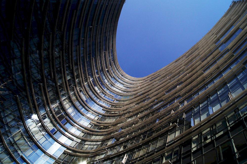 structure blue landmark skyscraper Architecture City metal sport venue metropolis stadium line symmetry cityscape