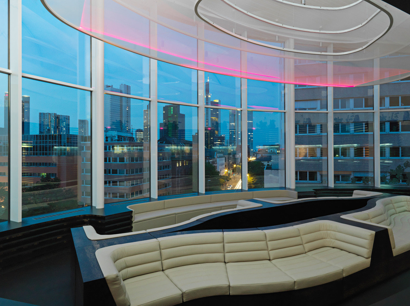 City Drink Fitness Hip Modern Scenic views Spa Wellness Lobby Architecture daylighting headquarters convention center glass overlooking