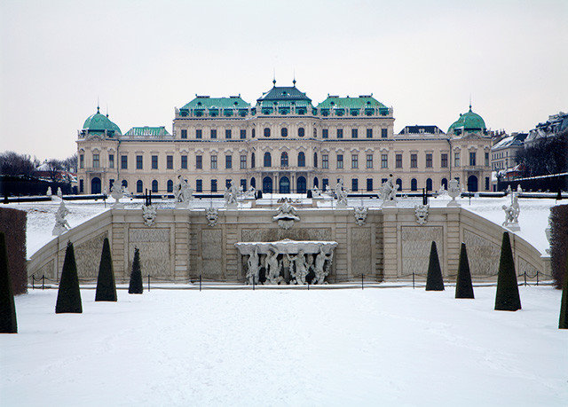 sky landmark snow structure building City Winter Architecture palace town square plaza