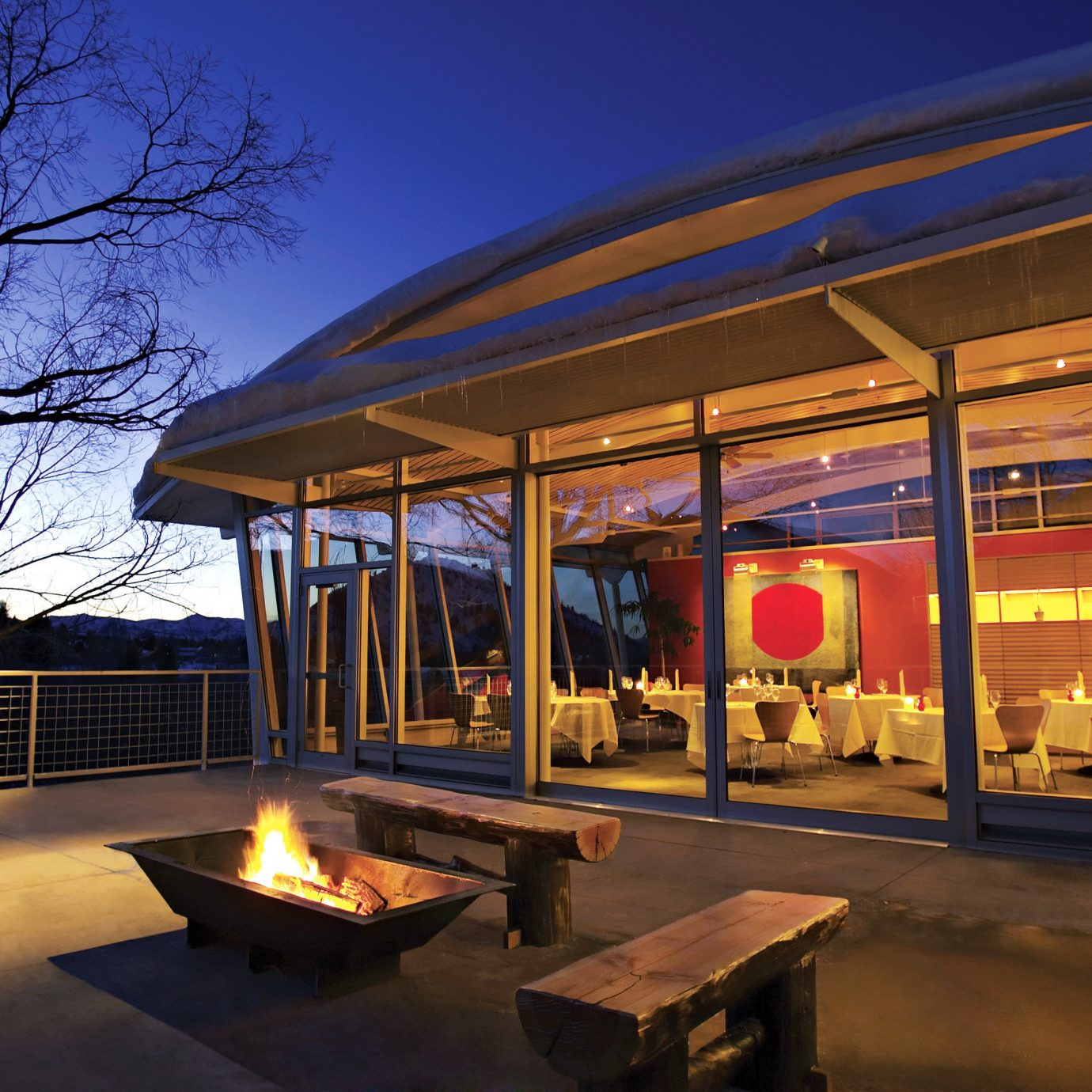 Architecture Exterior Fireplace Grounds Mountains Resort sky
