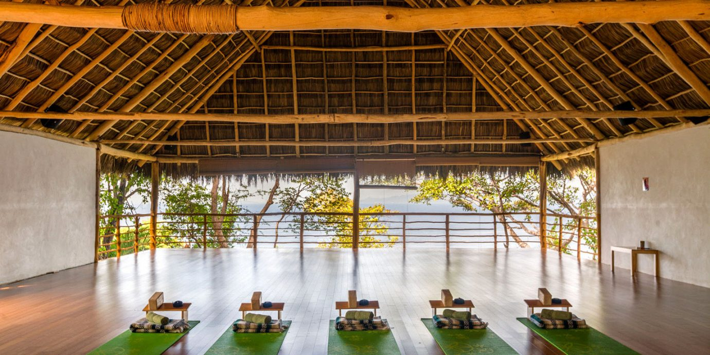 Fitness Island Treehouse Wellness building Architecture green daylighting Lobby pavilion convention center
