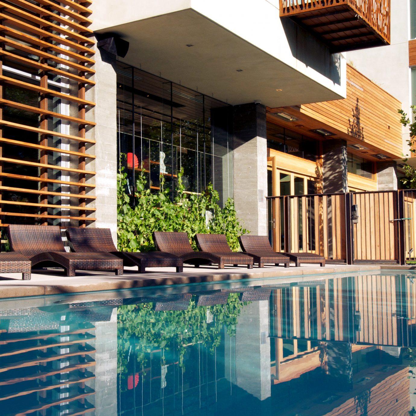 Hip Lounge Modern Patio Pool Terrace building swimming pool leisure property house condominium Architecture Resort home backyard Villa