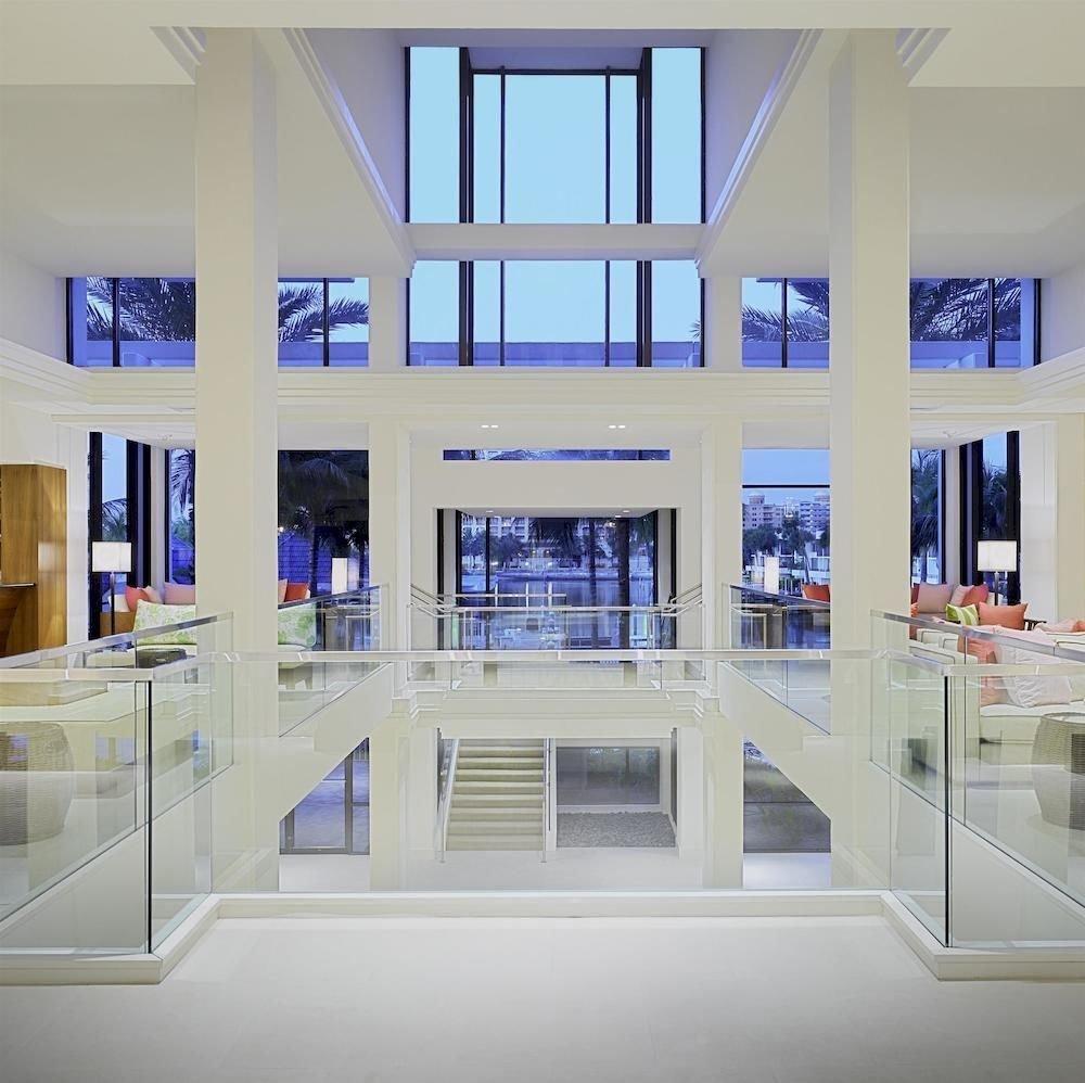 Lobby Lounge Modern Tropical building Architecture headquarters home shelf office glass condominium