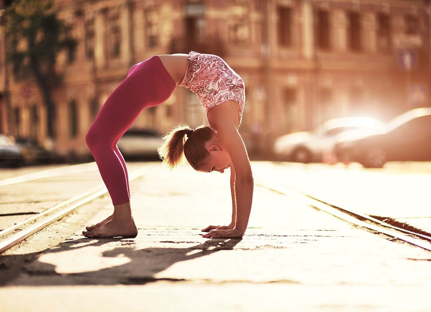 Offbeat photograph outdoor person human positions Beauty physical fitness sports Sport muscle model leg photo shoot yoga