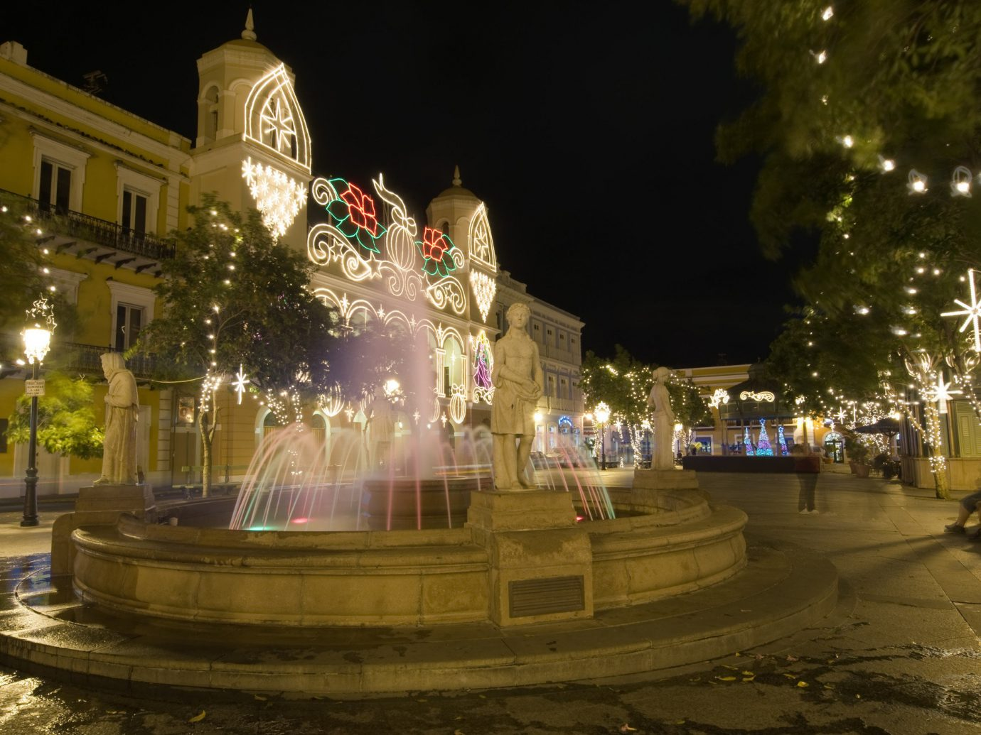 Trip Ideas outdoor night tree fountain Christmas christmas decoration water feature lighting town square christmas lights