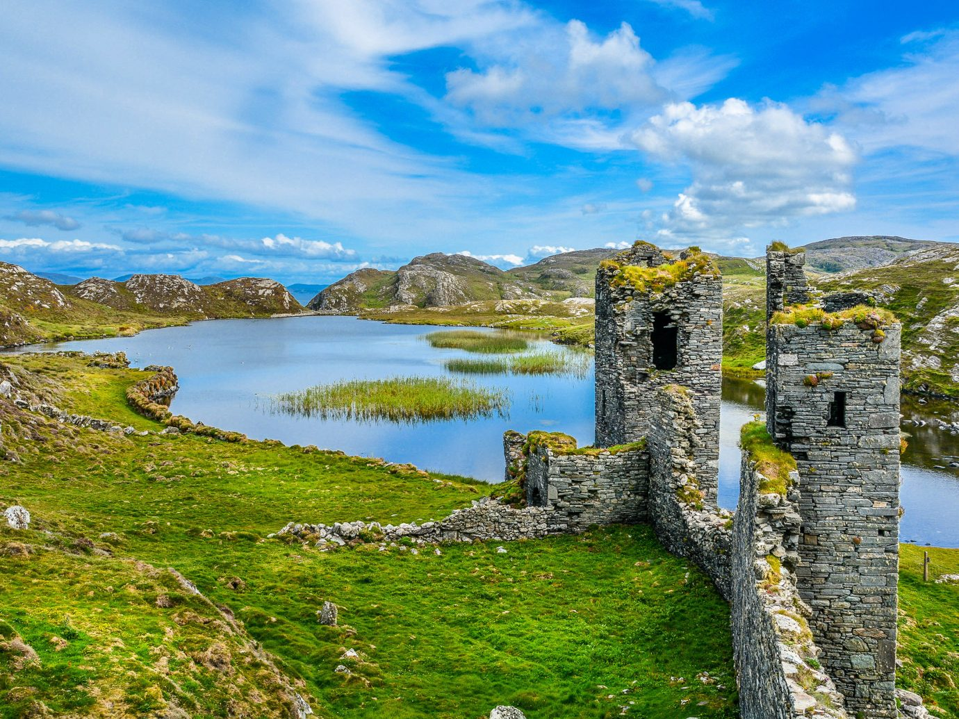 Offbeat sky grass outdoor Nature building highland reflection cloud green mount scenery national trust for places of historic interest or natural beauty grassy hill water landscape mountain loch overlooking Lake castle tree rock lush reservoir bank Ruins hillside fell meteorological phenomenon pasture