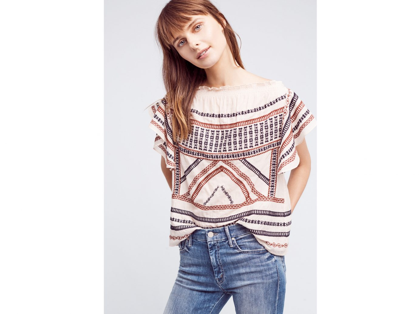 Style + Design person clothing sleeve t shirt outerwear posing sweater neck pattern photo shoot denim trouser beautiful