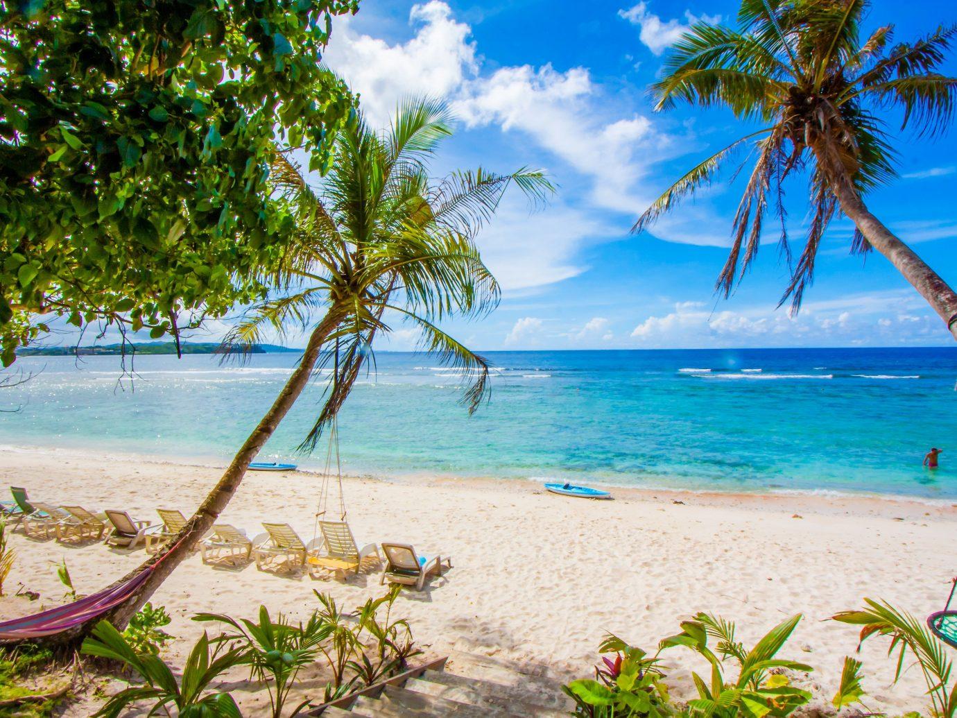 Trip Ideas tree outdoor water palm Beach shore body of water caribbean Sea vacation Ocean tropics Nature arecales Coast Island Lagoon bay palm family plant shade lined sunny sandy Resort
