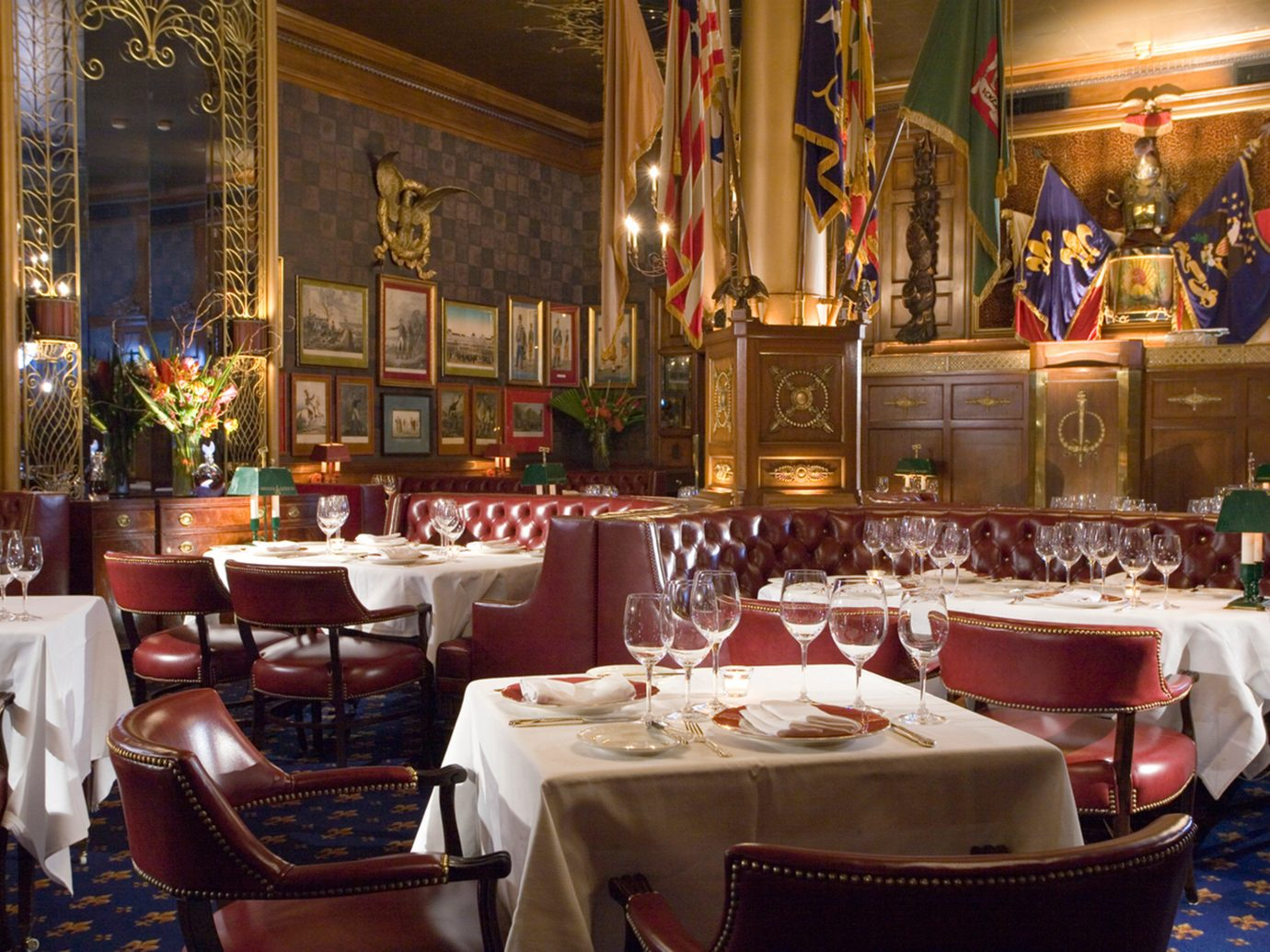 Bar Dining Drink Eat Elegant Historic Hotels meal restaurant function hall several