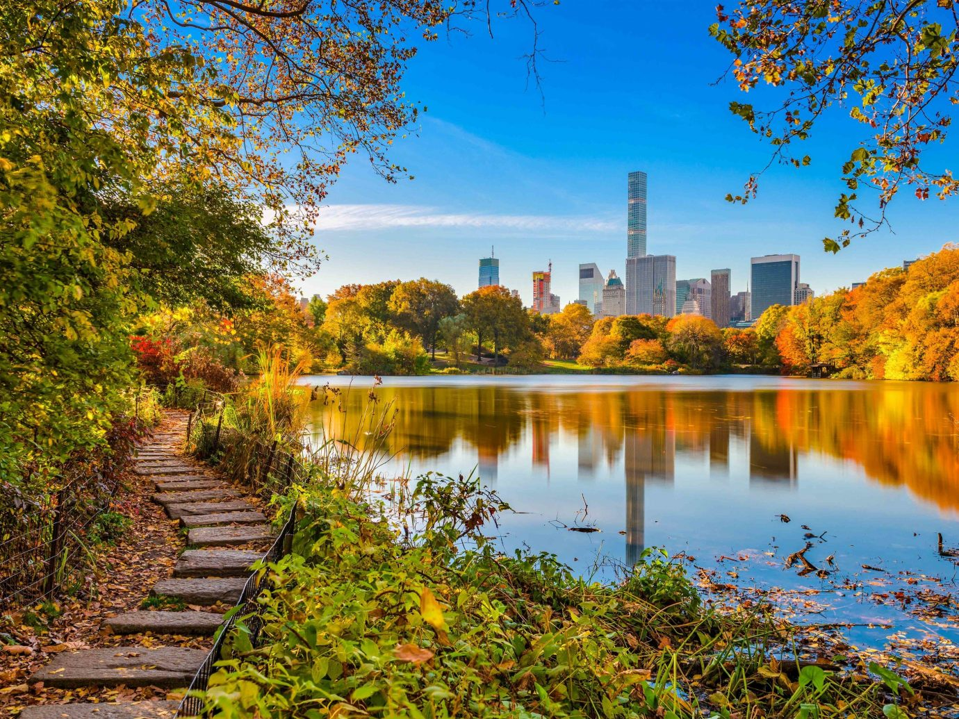 Arts + Culture Brooklyn Canada Hawaii Los Angeles Morocco New York Oahu Offbeat Scotland Toronto reflection leaf Nature water autumn waterway sky tree Lake bank pond reservoir River morning daytime plant landscape City evening sunlight real estate wetland watercourse spring branch computer wallpaper skyline state park lacustrine plain Canal bayou