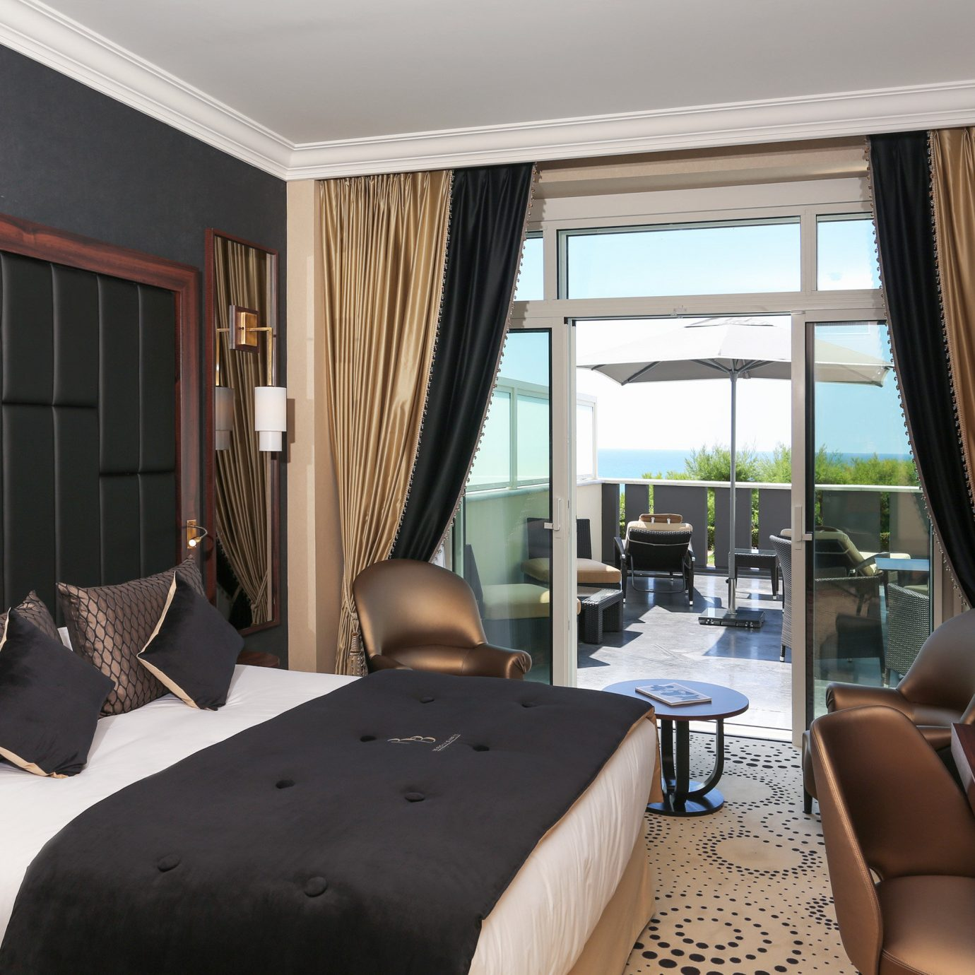 Balcony Bedroom Luxury Modern Resort Scenic views chair property Suite living room condominium home cottage