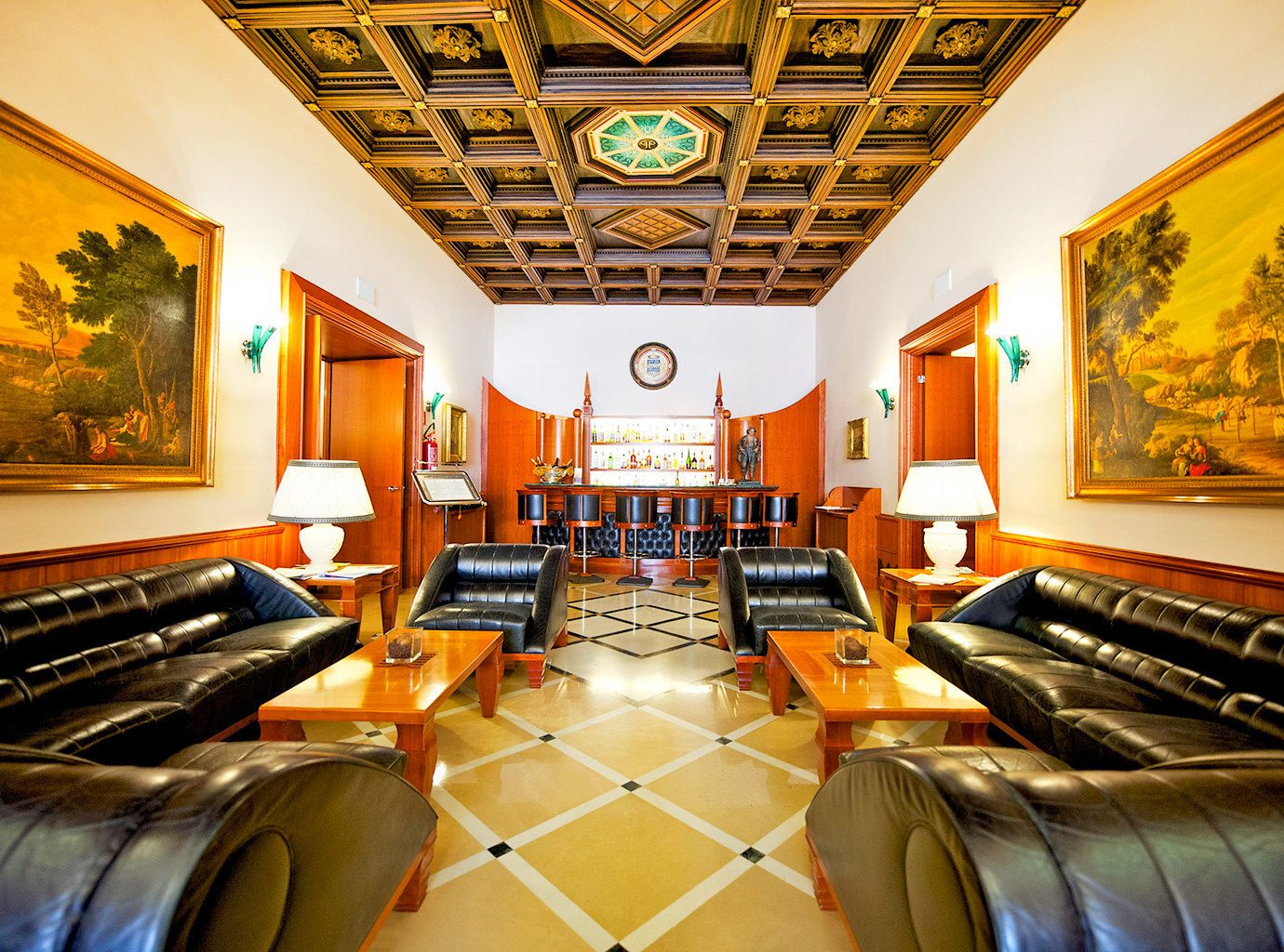 Bar Classic Drink Lounge sofa property Resort recreation room Lobby yellow living room