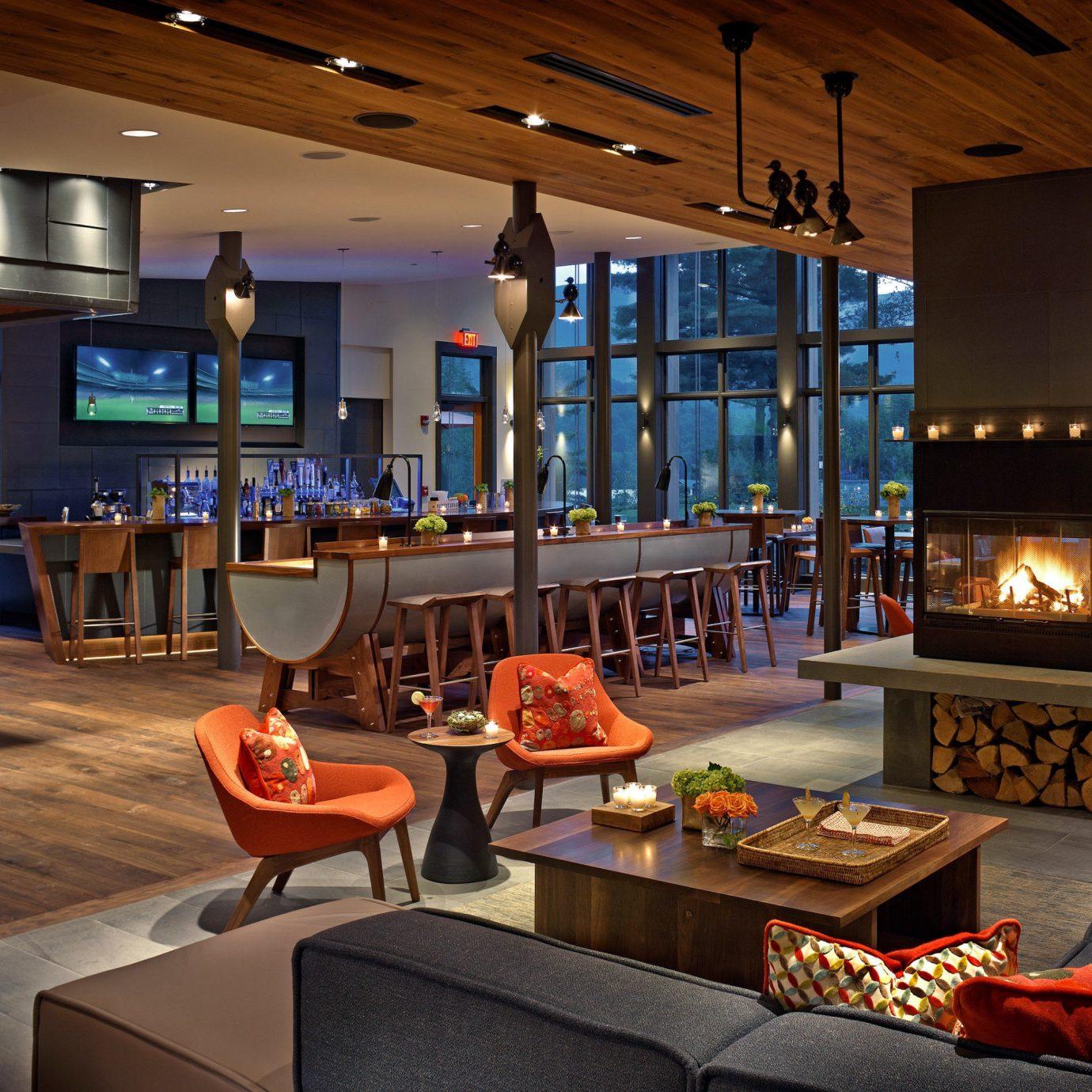 Bar Country Dining Drink Eat Lodge Resort Trip Ideas recreation room Lobby living room home billiard room orange
