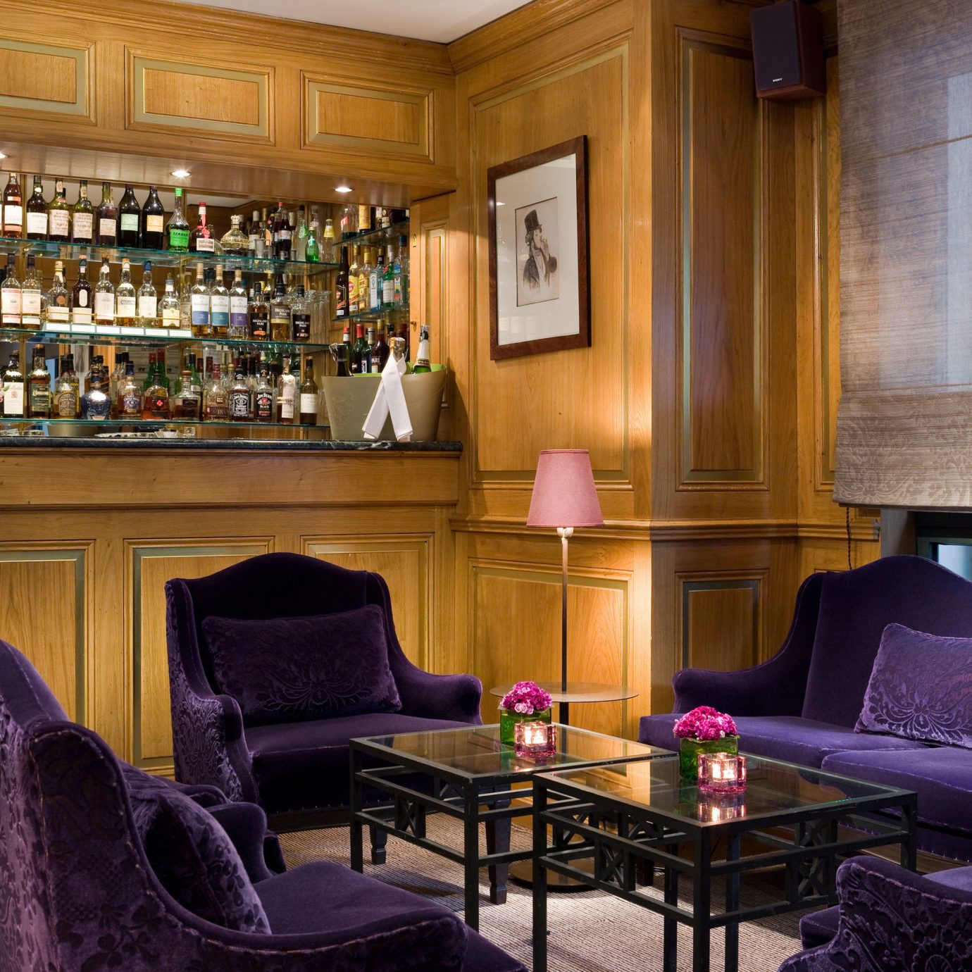 Bar Dining Drink Eat Elegant Lounge Luxury chair property building home living room purple mansion recreation room