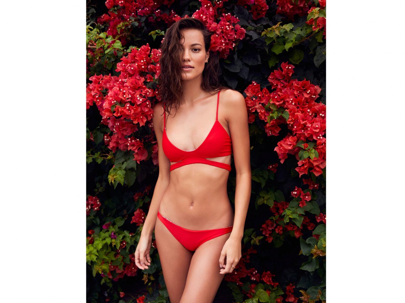 Style + Design clothing person woman swimsuit red posing dress standing undergarment lingerie swimwear beautiful petal long hair flower photo shoot dressed